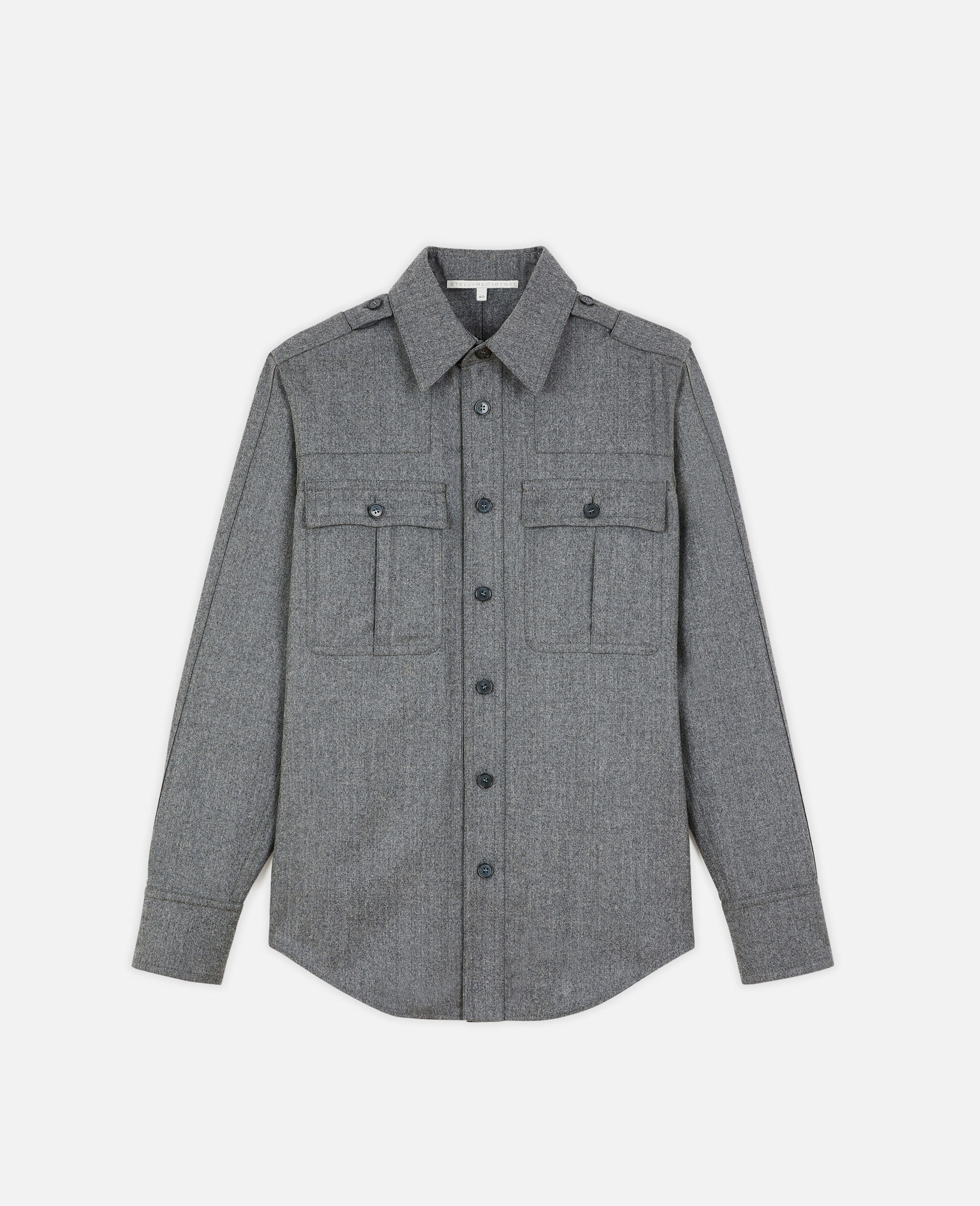 Wool Flannel Shirt-Grey-large image number 0
