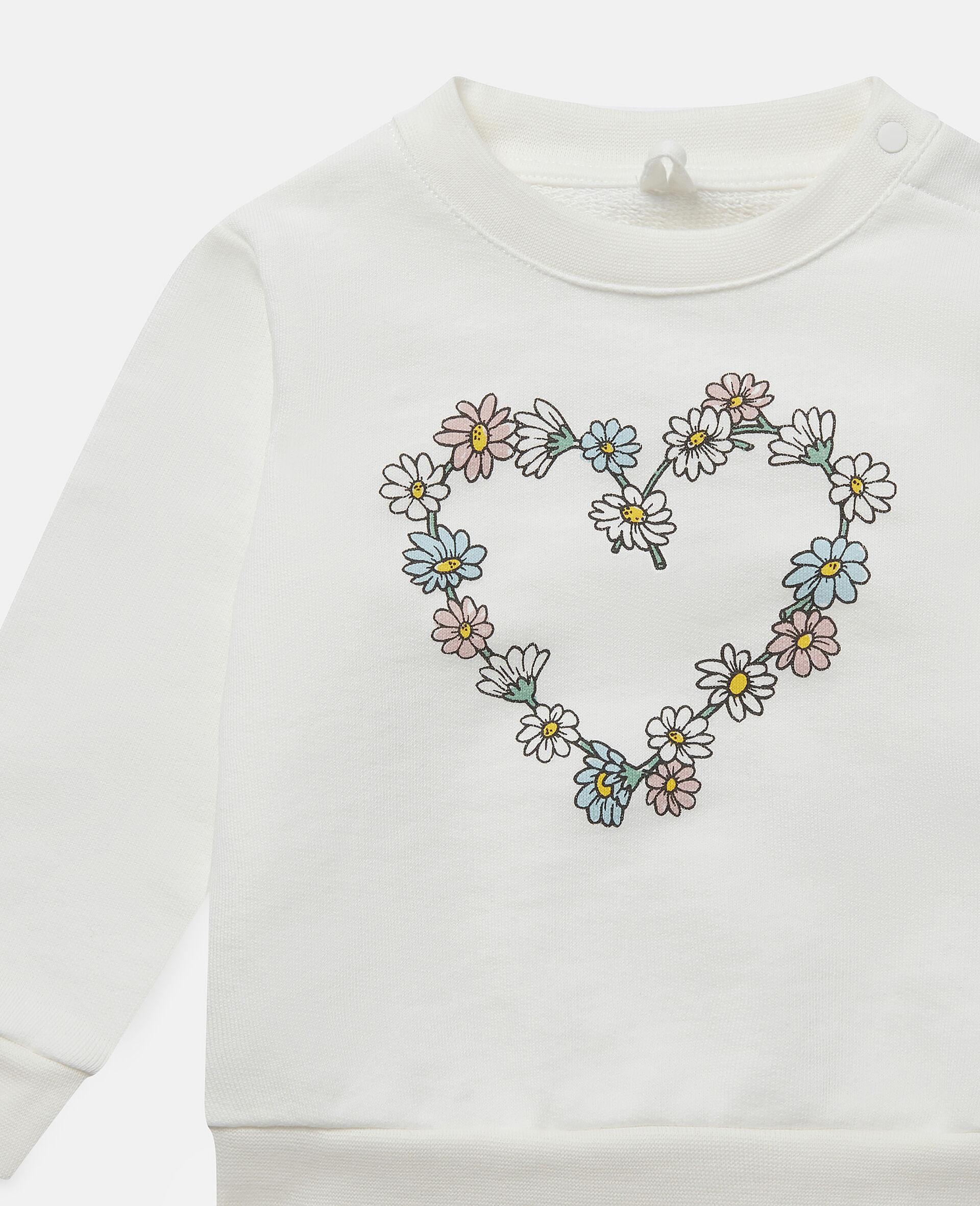 Daisy Heart Cotton Fleece Sweatshirt -White-large image number 1
