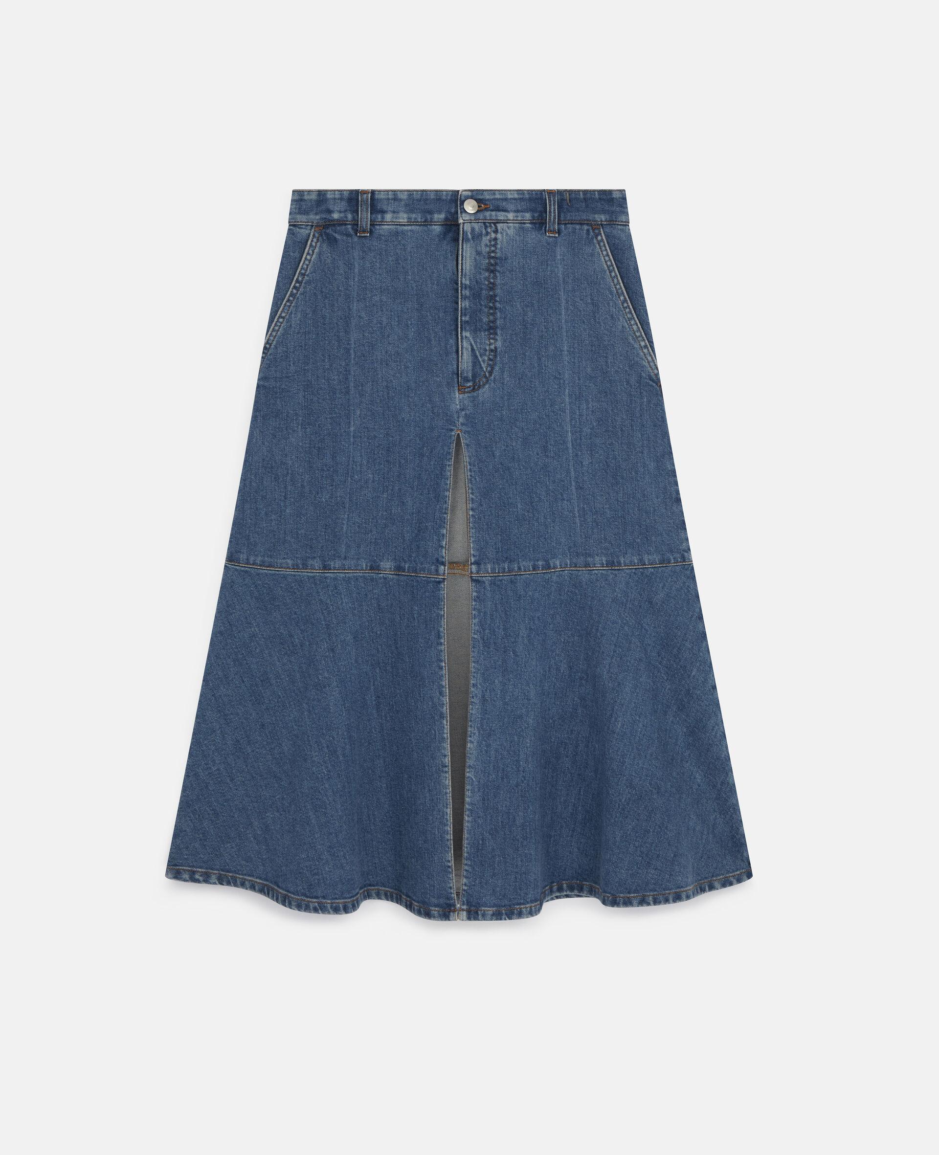 Flared Denim Skirt -Blue-large image number 0