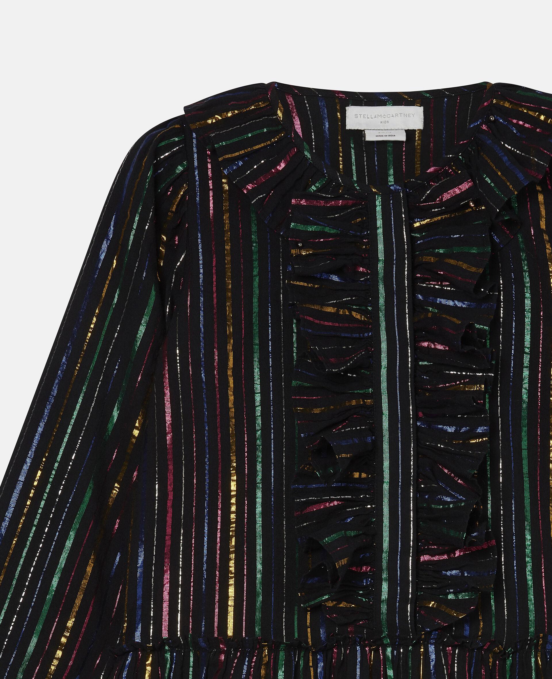 Rainbow Lurex Striped Cotton Dress-Black-large image number 2