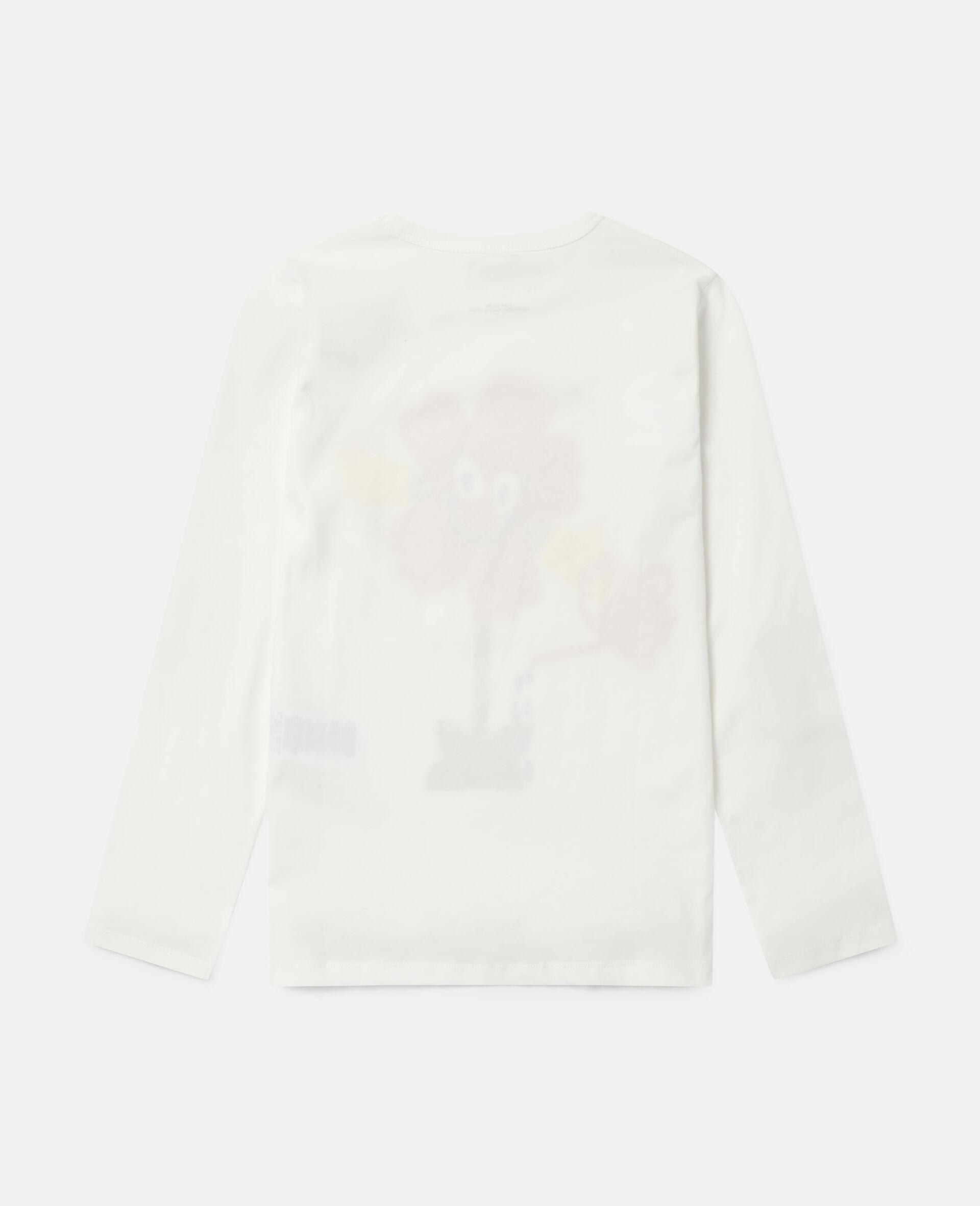 T-Shirt in Cotone con Fiore che si Innaffia -Bianco-large image number 3