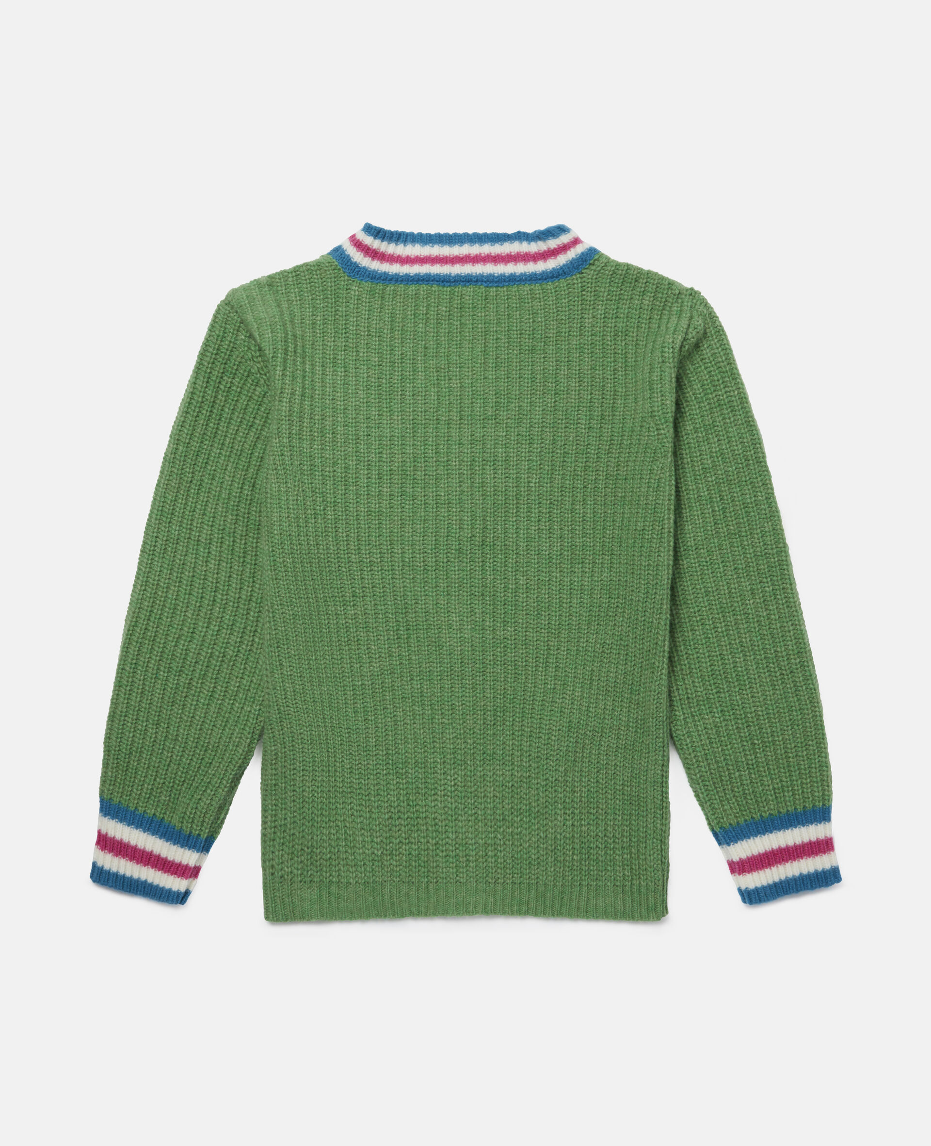 Pencils Knit Intarsia Cardigan -Green-large image number 3