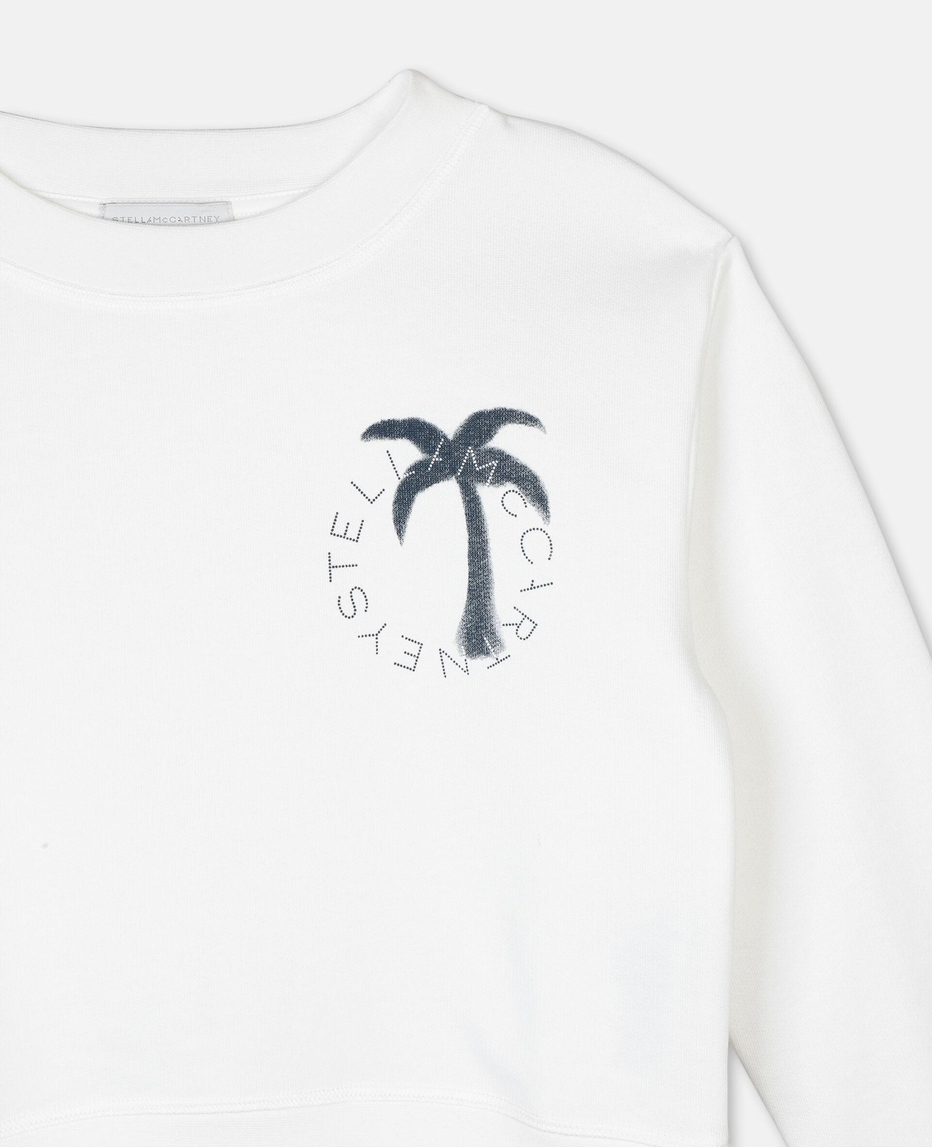Sweat-shirt en molleton motif palmier et logo -Blanc-large image number 1