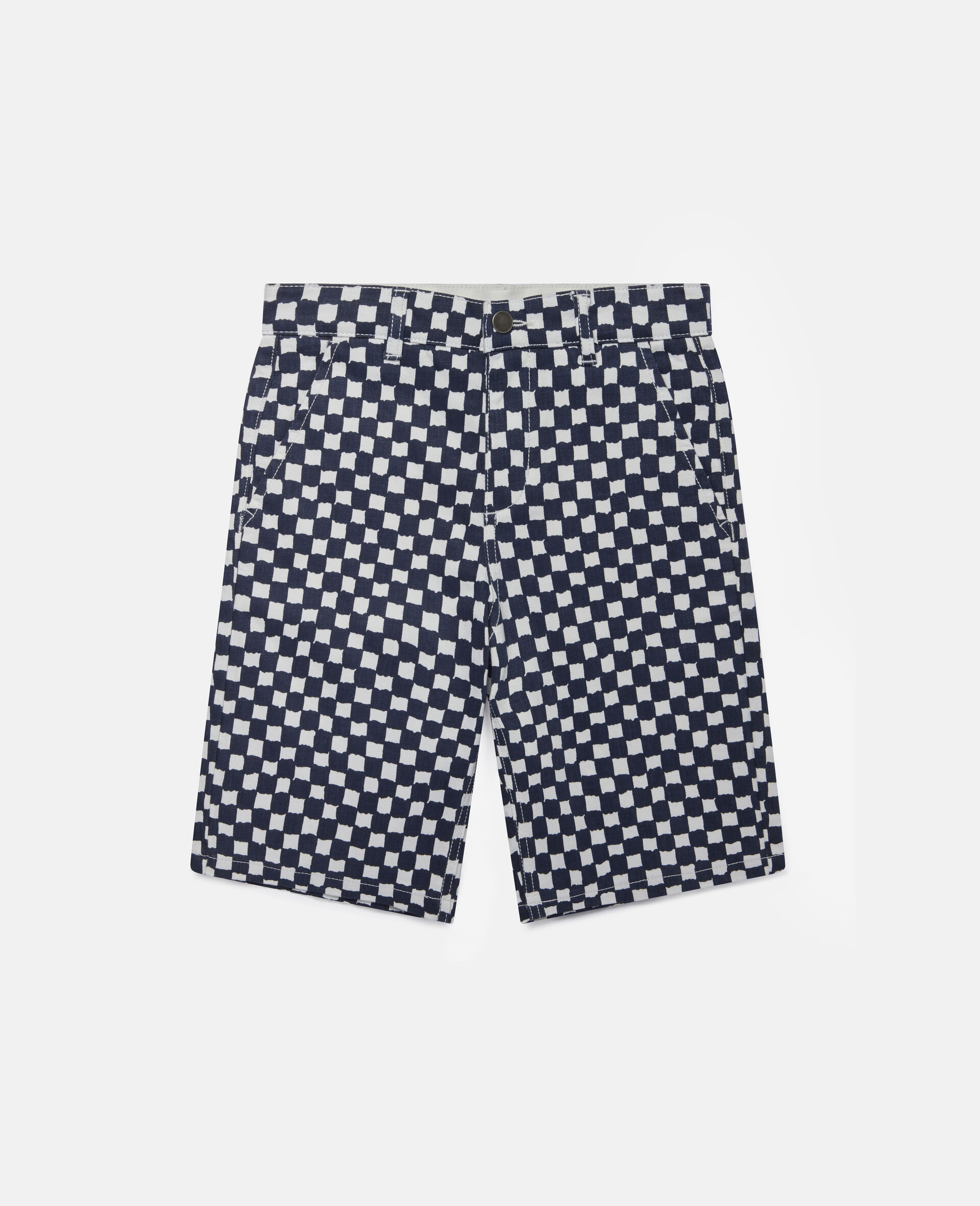Checked Denim Shorts -Multicolour-large image number 0