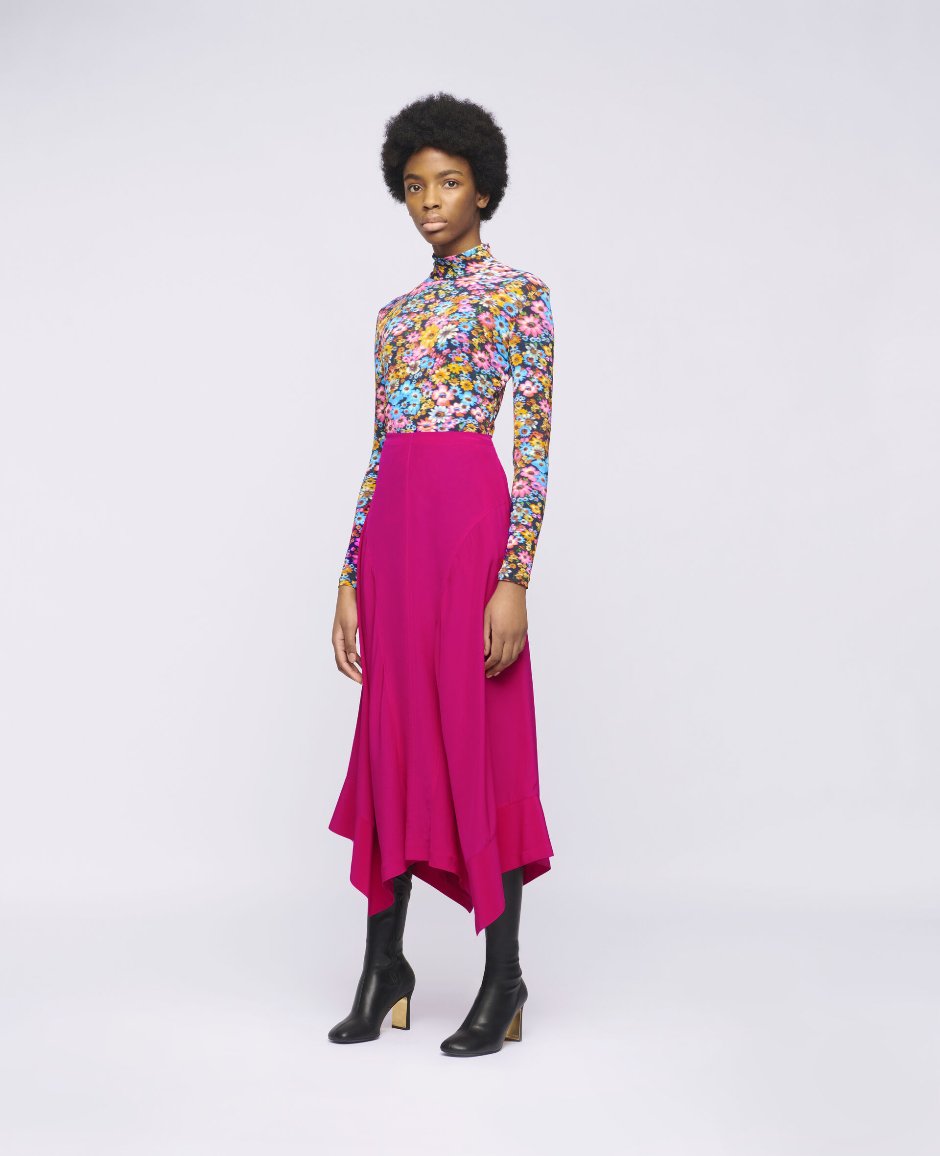 Naya Silk Skirt-Pink-large image number 1