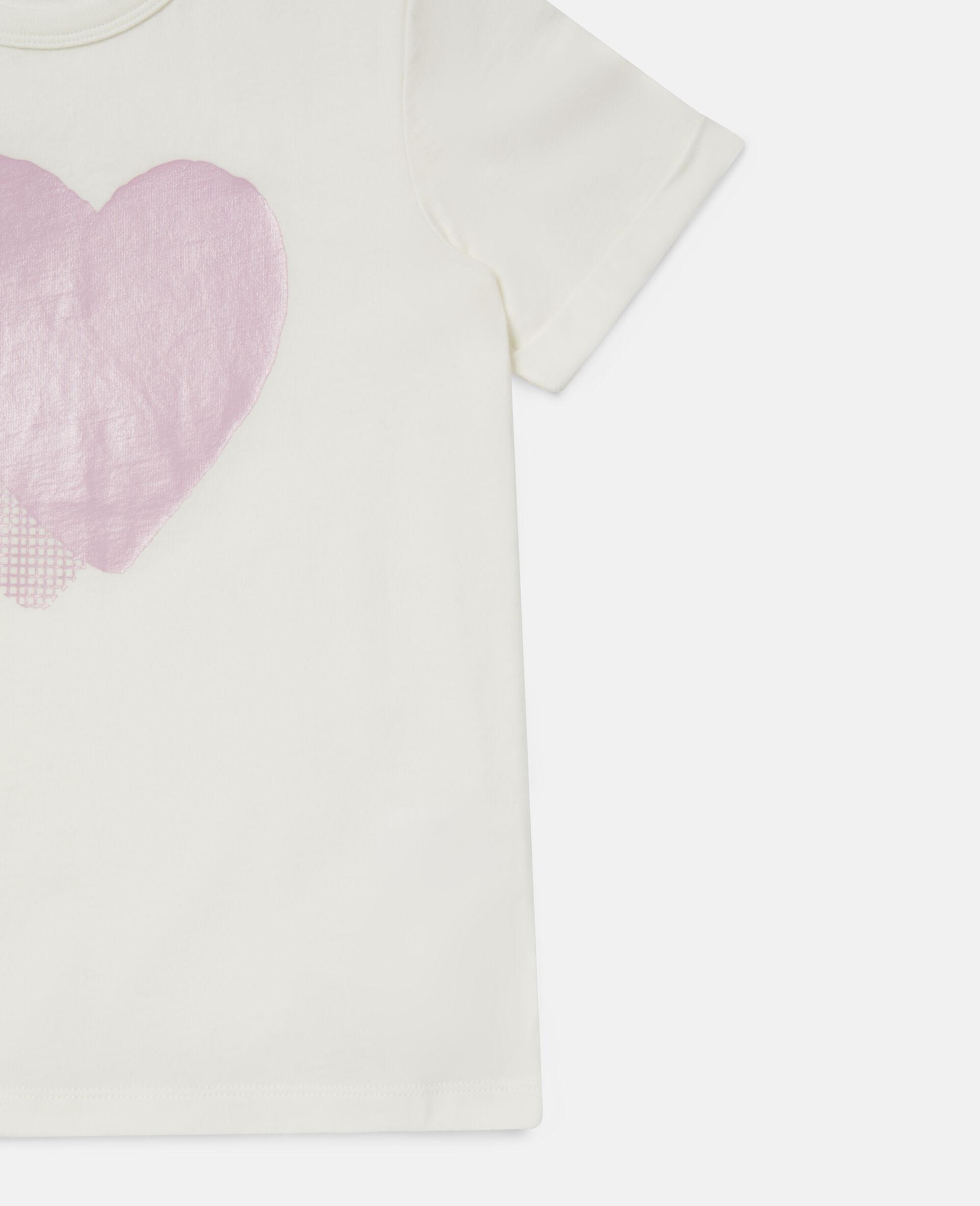 Heart Logo Cotton T-shirt -White-large image number 1