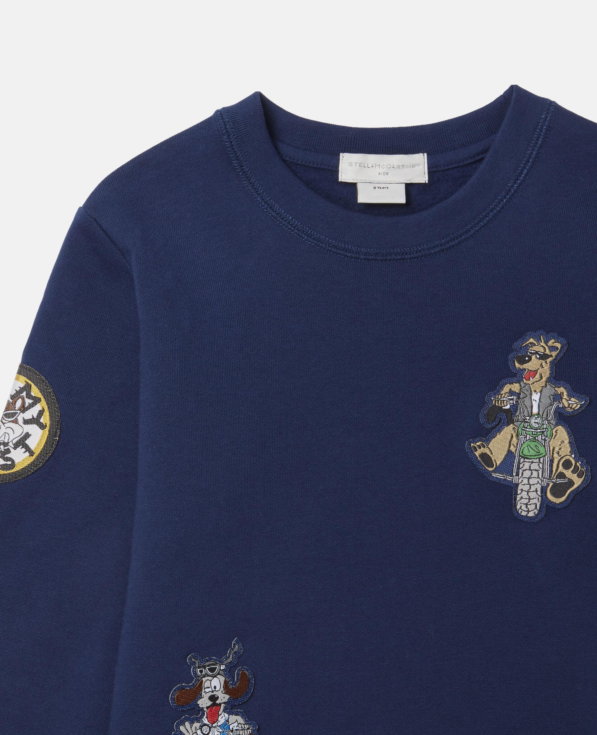 Sweat-shirt en polaire écussons chiens motards-Bleu-large image number 1