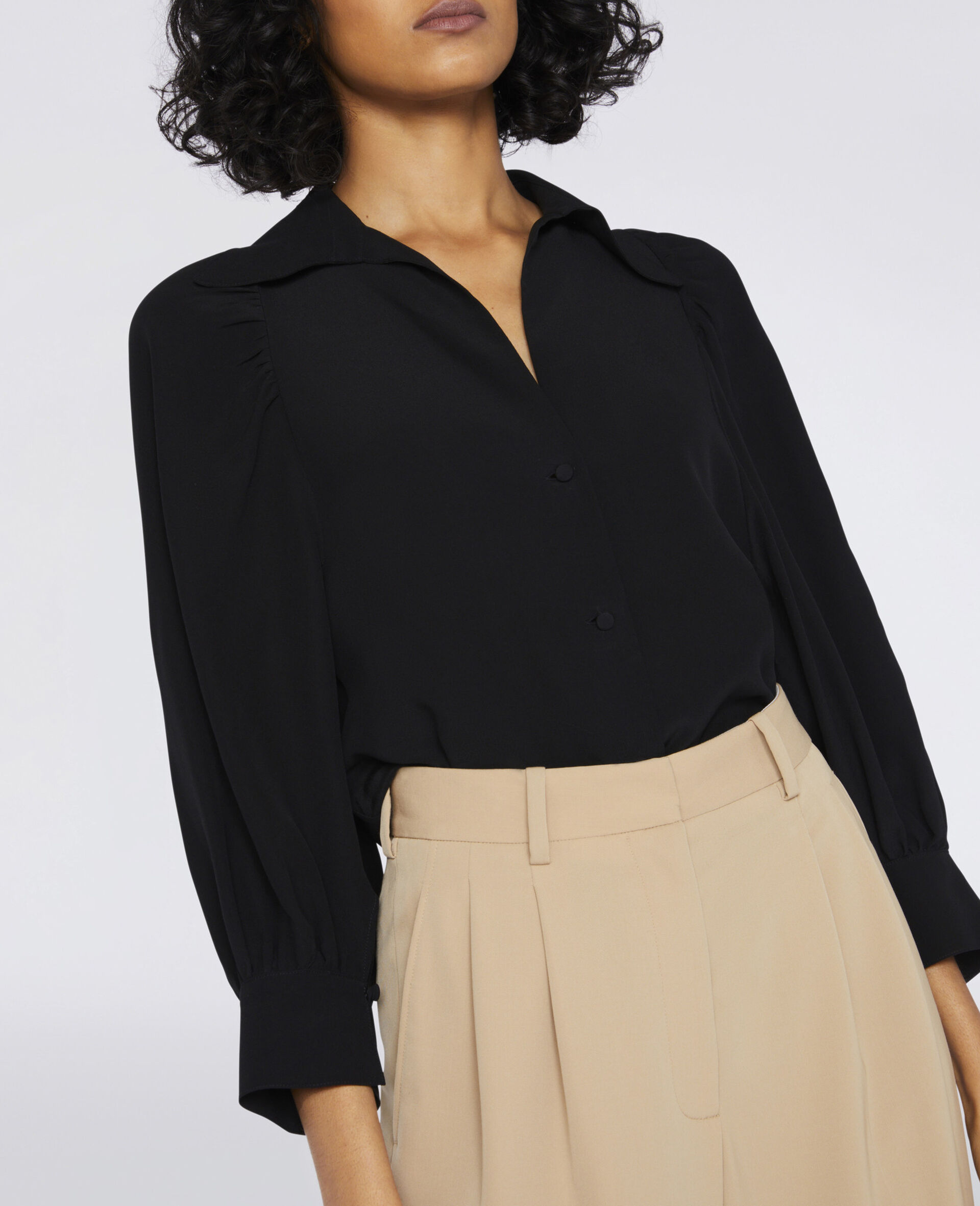 Reese Silk Shirt -Black-large image number 3