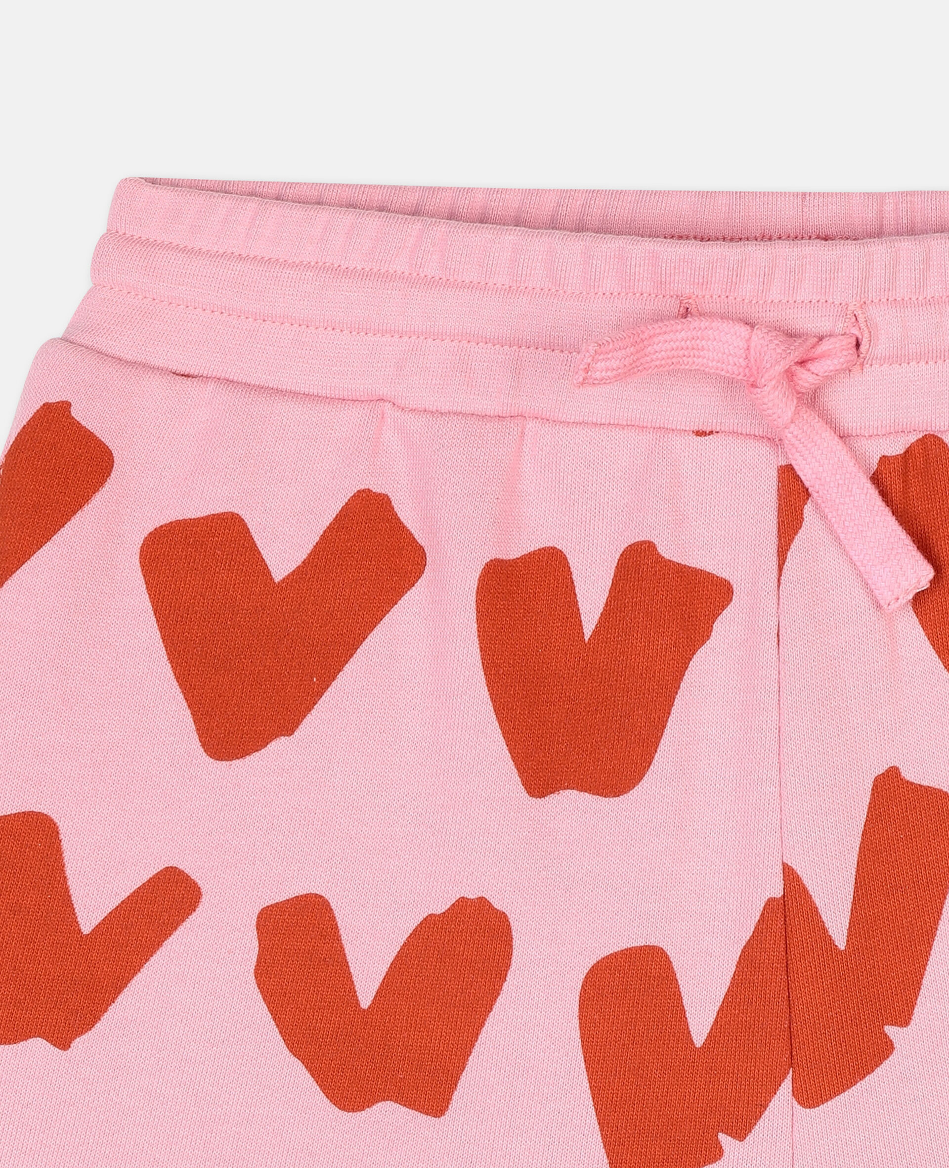Hearts Cotton Fleece Shorts-Pink-large image number 1