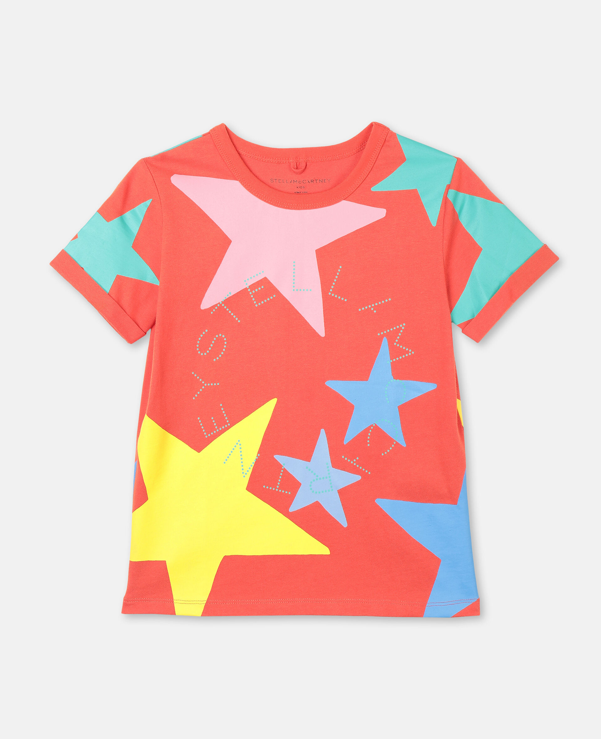 Multicolor Stars Cotton T-shirt-White-large image number 0