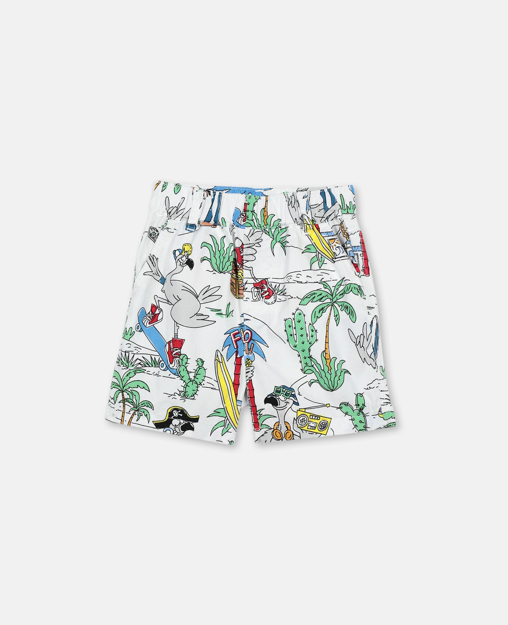 Shorts aus Baumwolle mit Flamingo-Land-Print -Bunt-large image number 0
