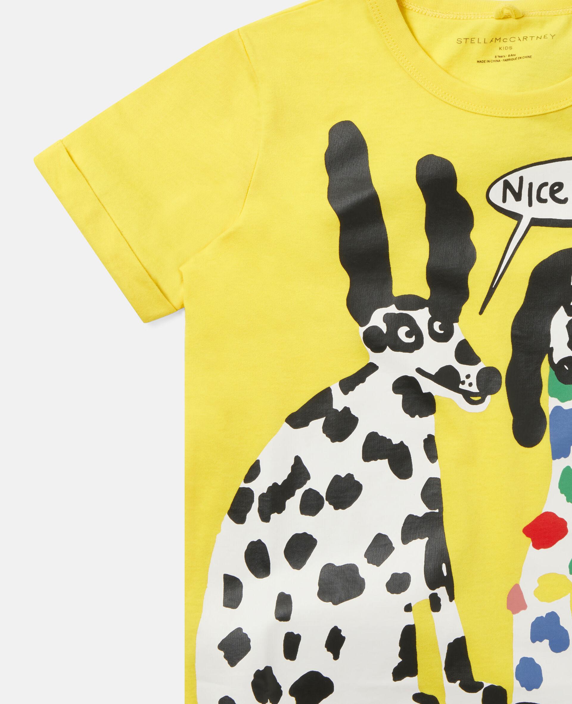 T-shirt en coton motif dalmatien -Jaune-large image number 2