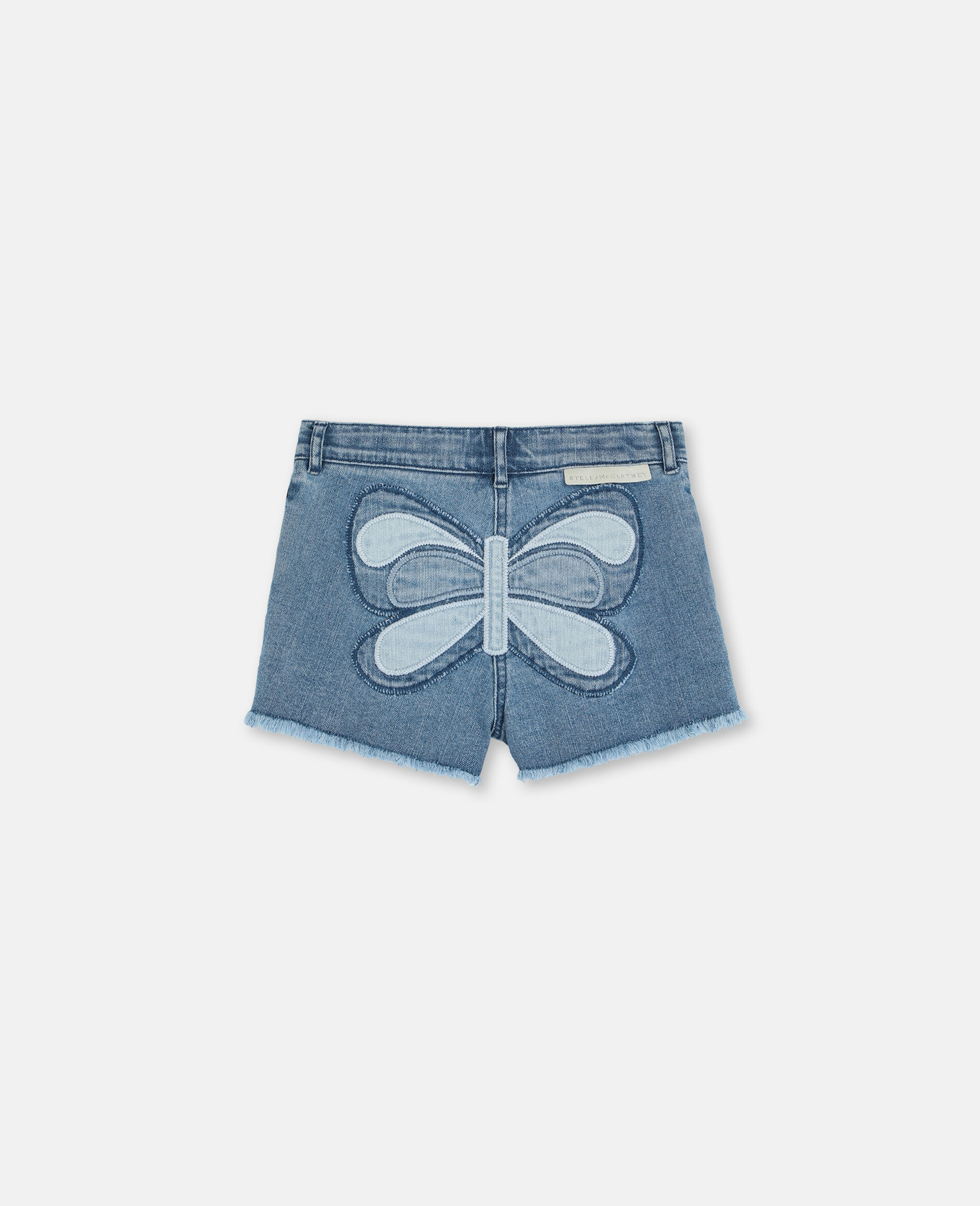 Butterfly Patch Denim Shorts -Blue-large image number 3
