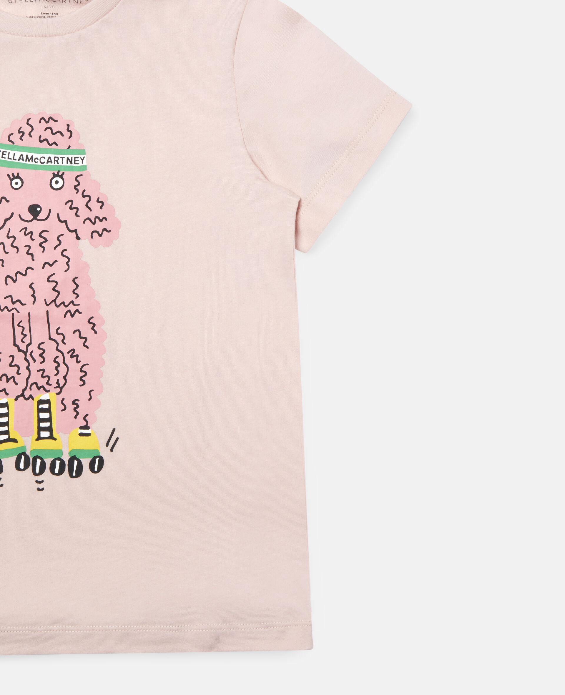 T-Shirt aus Baumwolle mit Pudel auf Rollerskates-Rose-large image number 1