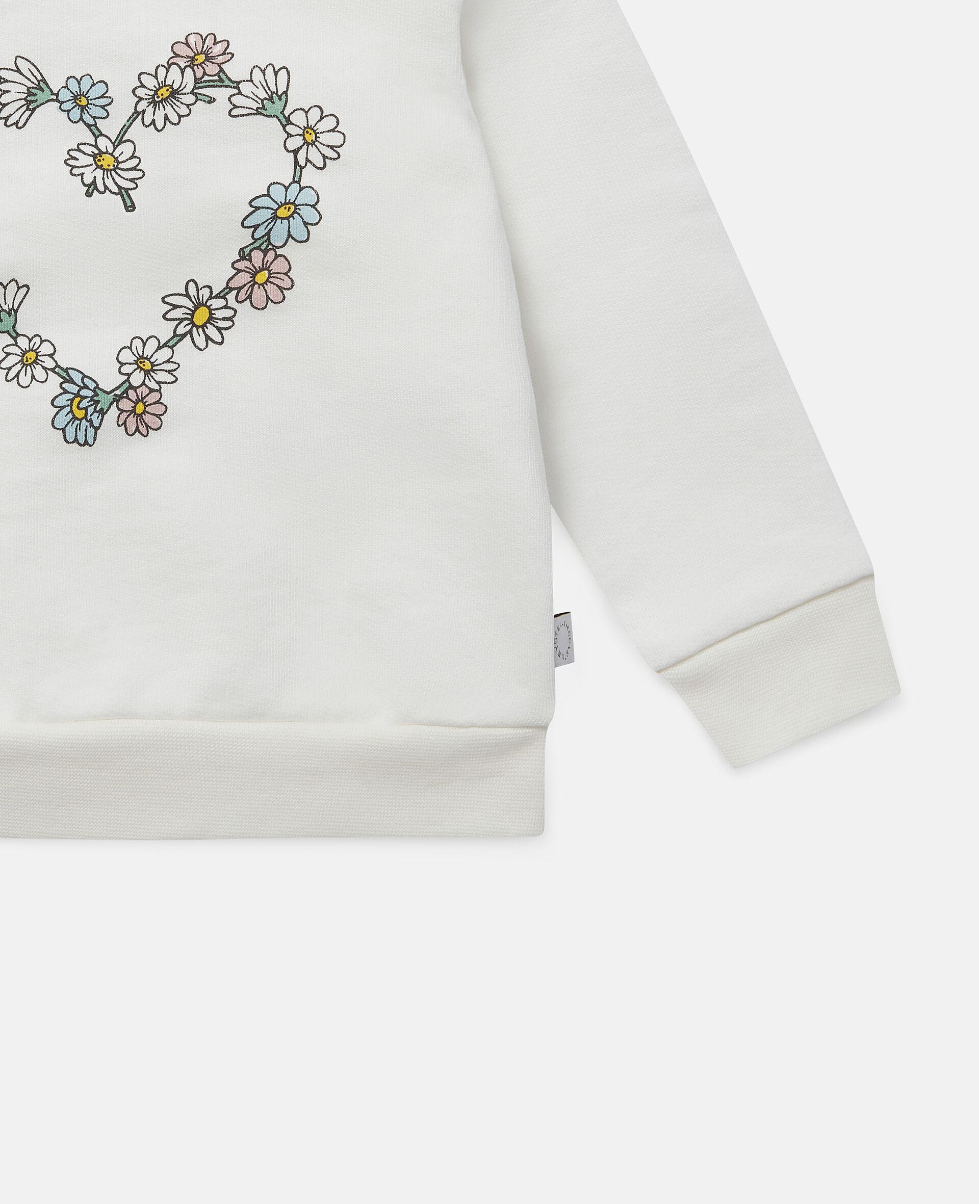 Daisy Heart Cotton Fleece Sweatshirt -White-large image number 2