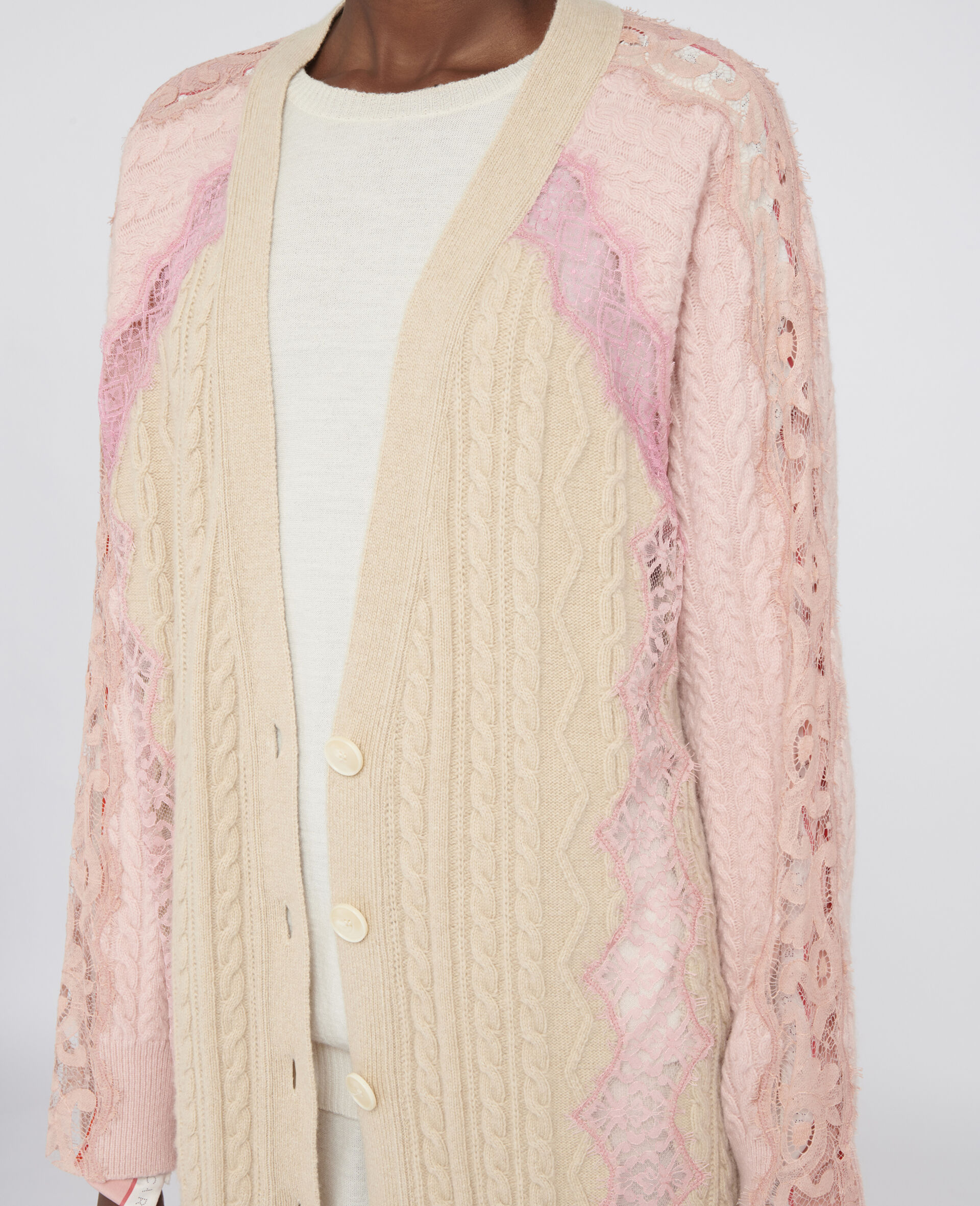 Oversized Wool Cardigan -Beige-large image number 3