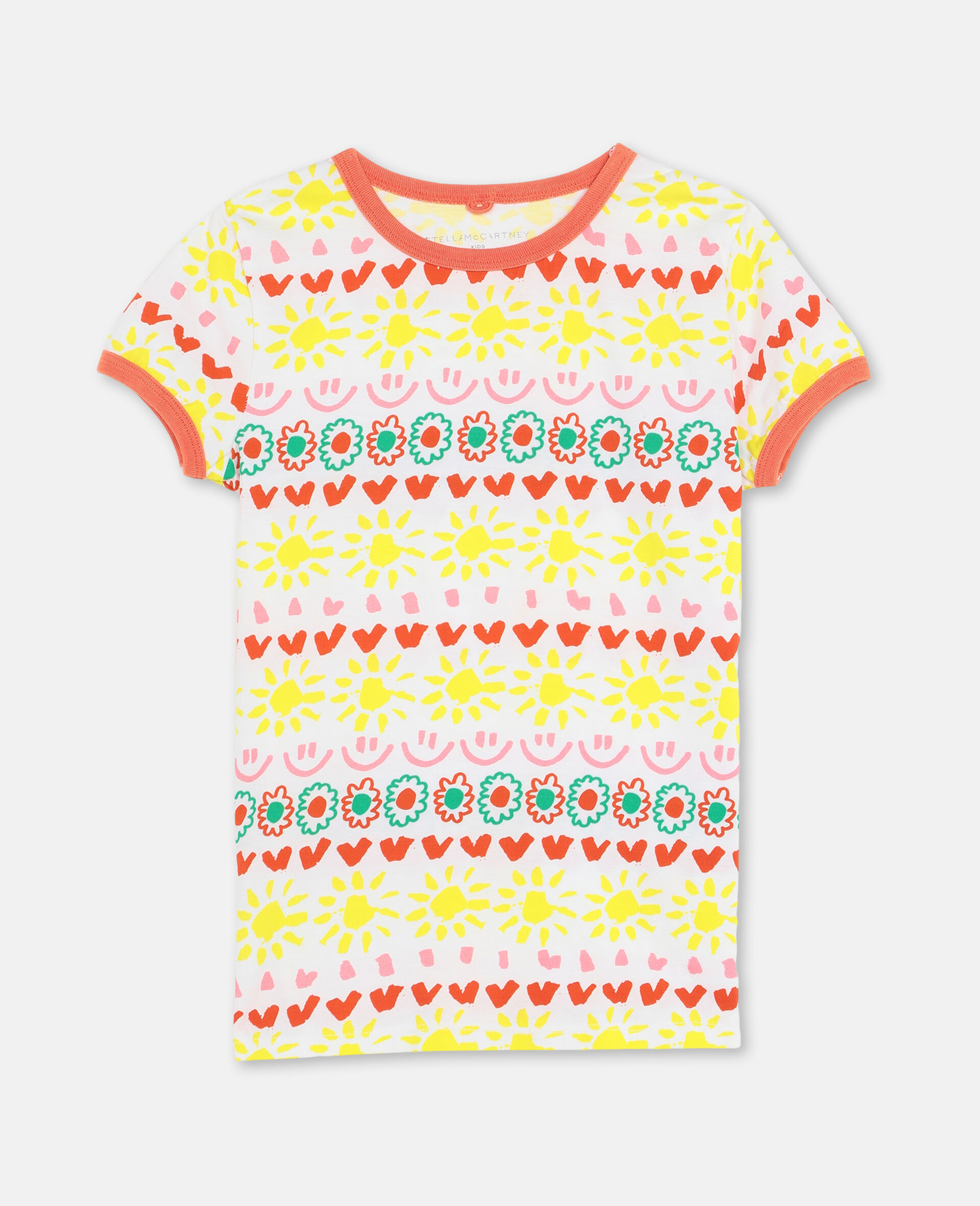 Happy Stripes Cotton T-shirt-Yellow-large image number 0