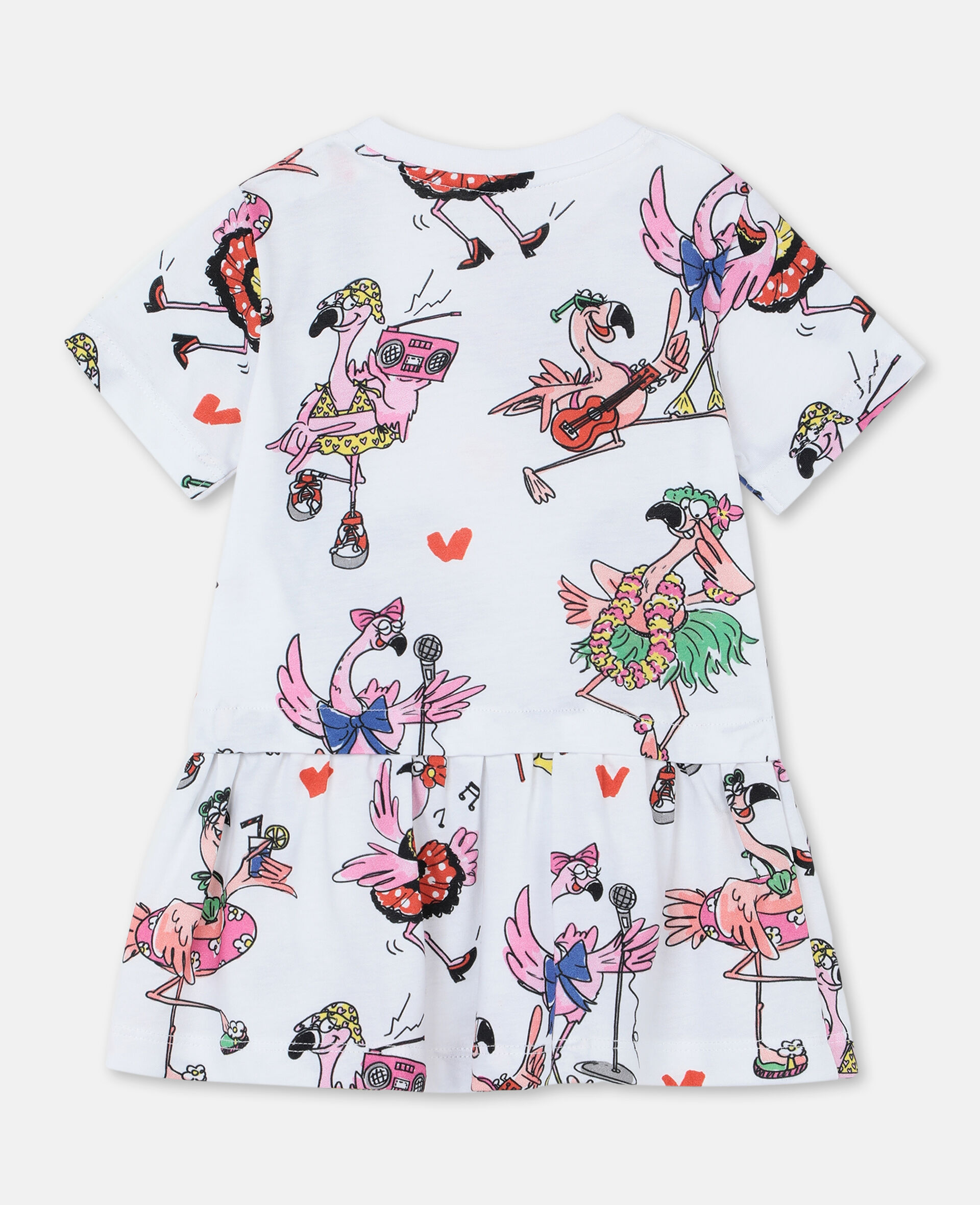 Flamingo Party Cotton Dress-Multicolour-large image number 3
