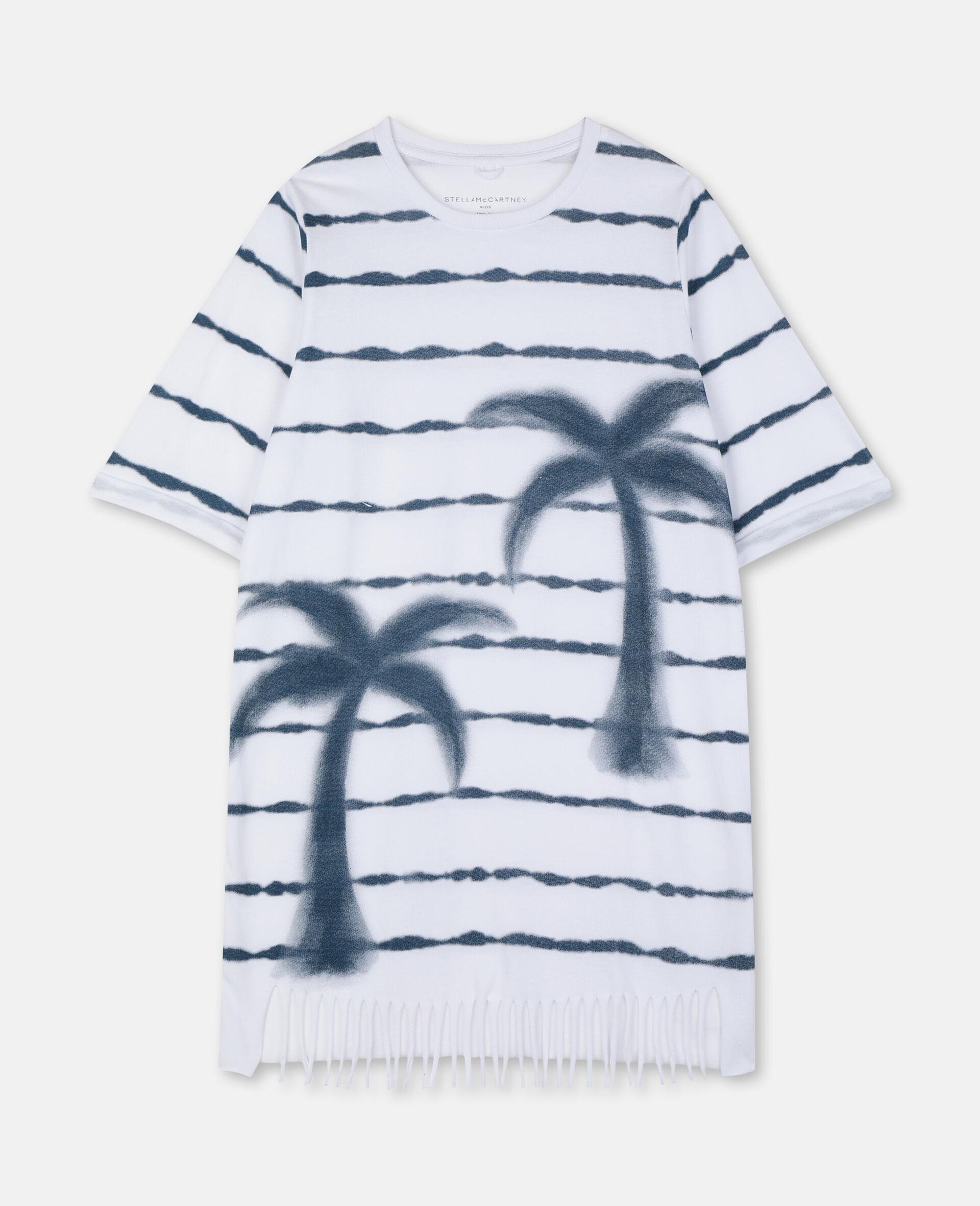 Robe en coton avec imprimé palmiers-Blanc-large image number 0
