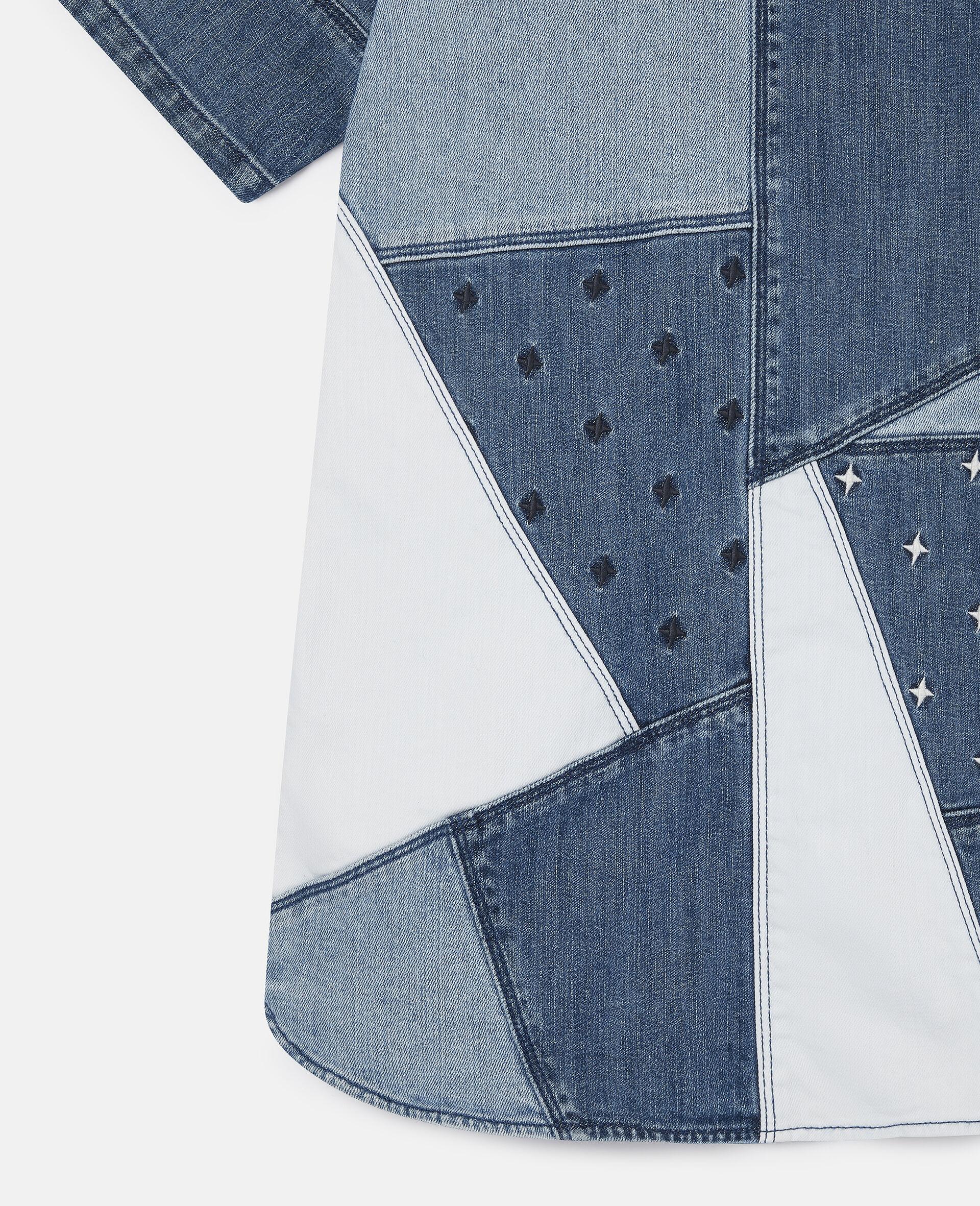 Embroidered Stars Patchwork Denim Dress-Blue-large image number 1