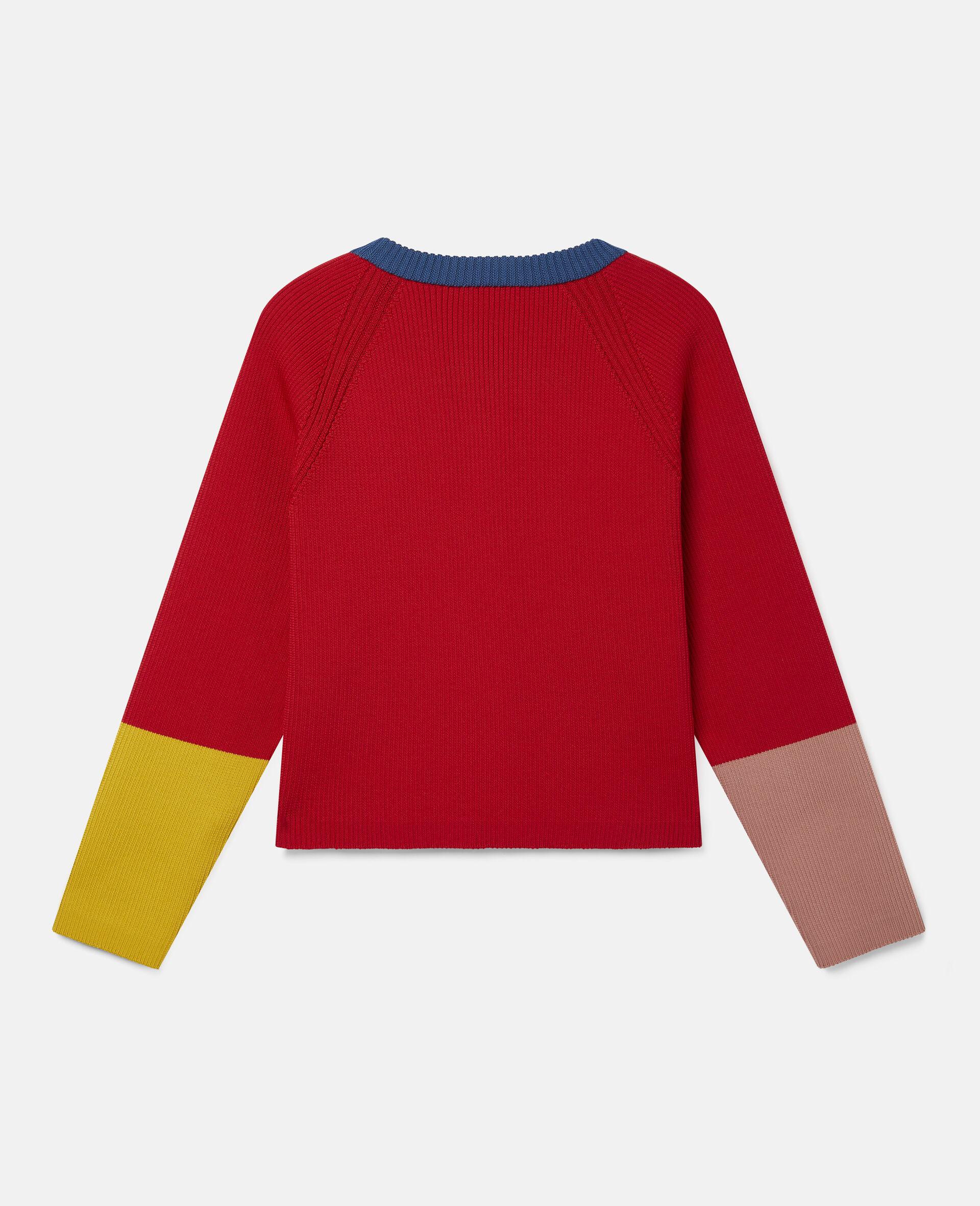 Colourblock Knit Rib Cardigan  -Red-large image number 3