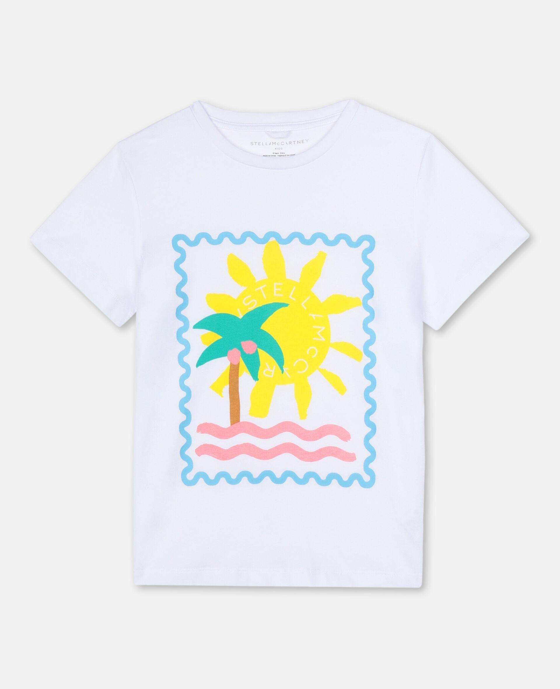 Baumwoll-T-Shirt mit Postkarten-Print-Weiß-large image number 0