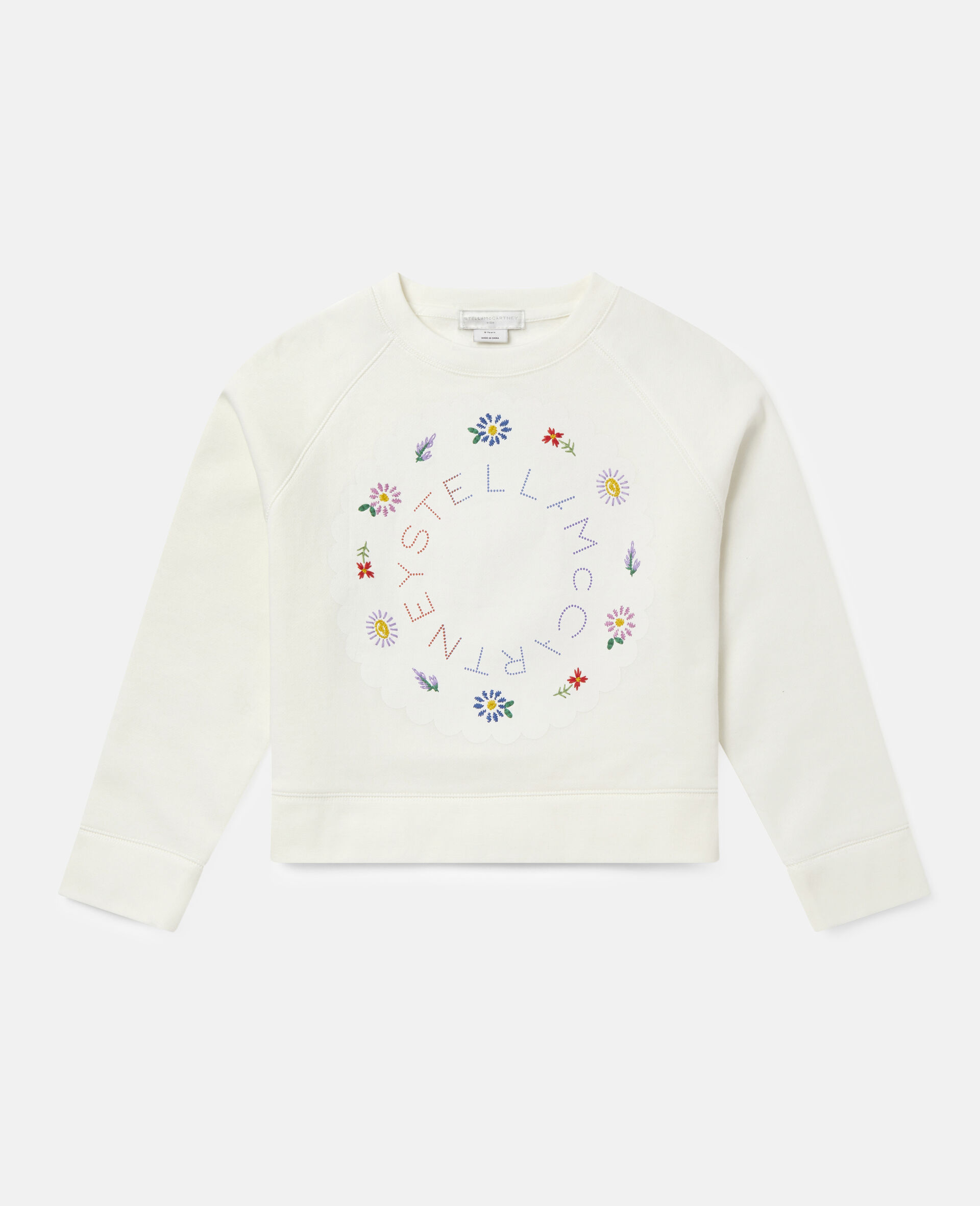 Oversized Logo Cotton Fleece Sweatshirt-White-large image number 0