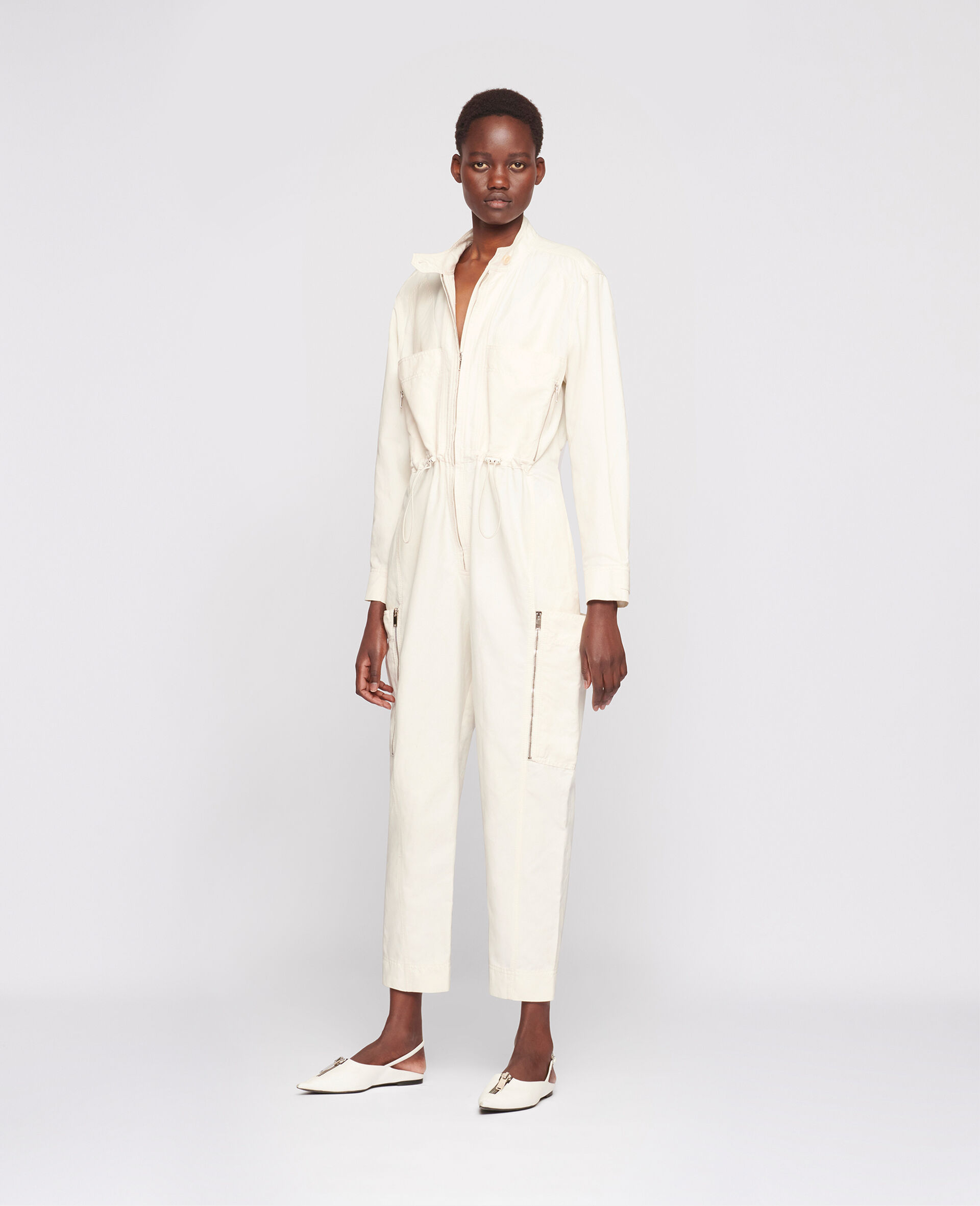 Alessia Compact Cotton Jumpsuit-White-large image number 1