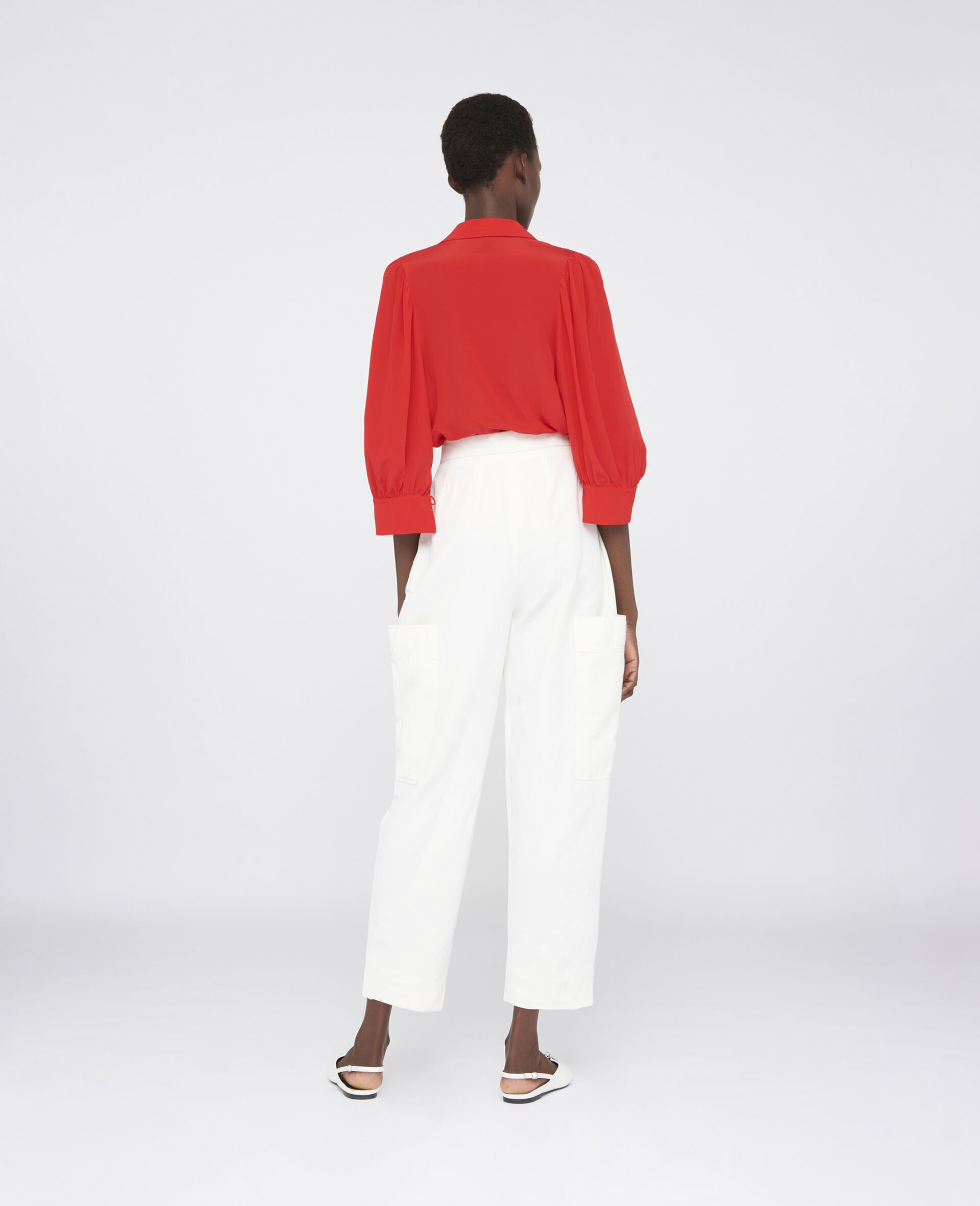 Karla Compact Cotton Pants-White-large image number 2