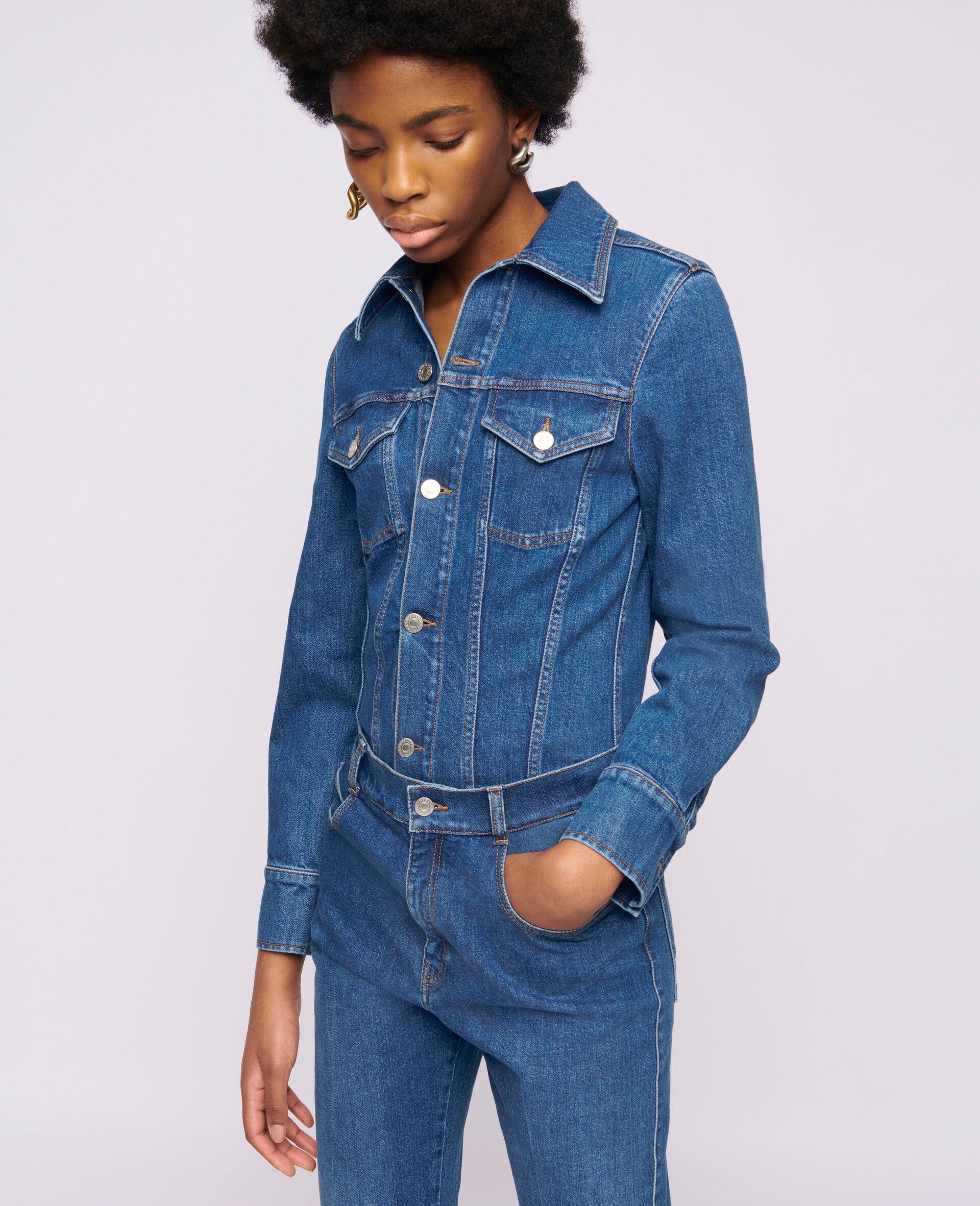 Vintage Wash Denim Jumpsuit -Blue-large image number 3