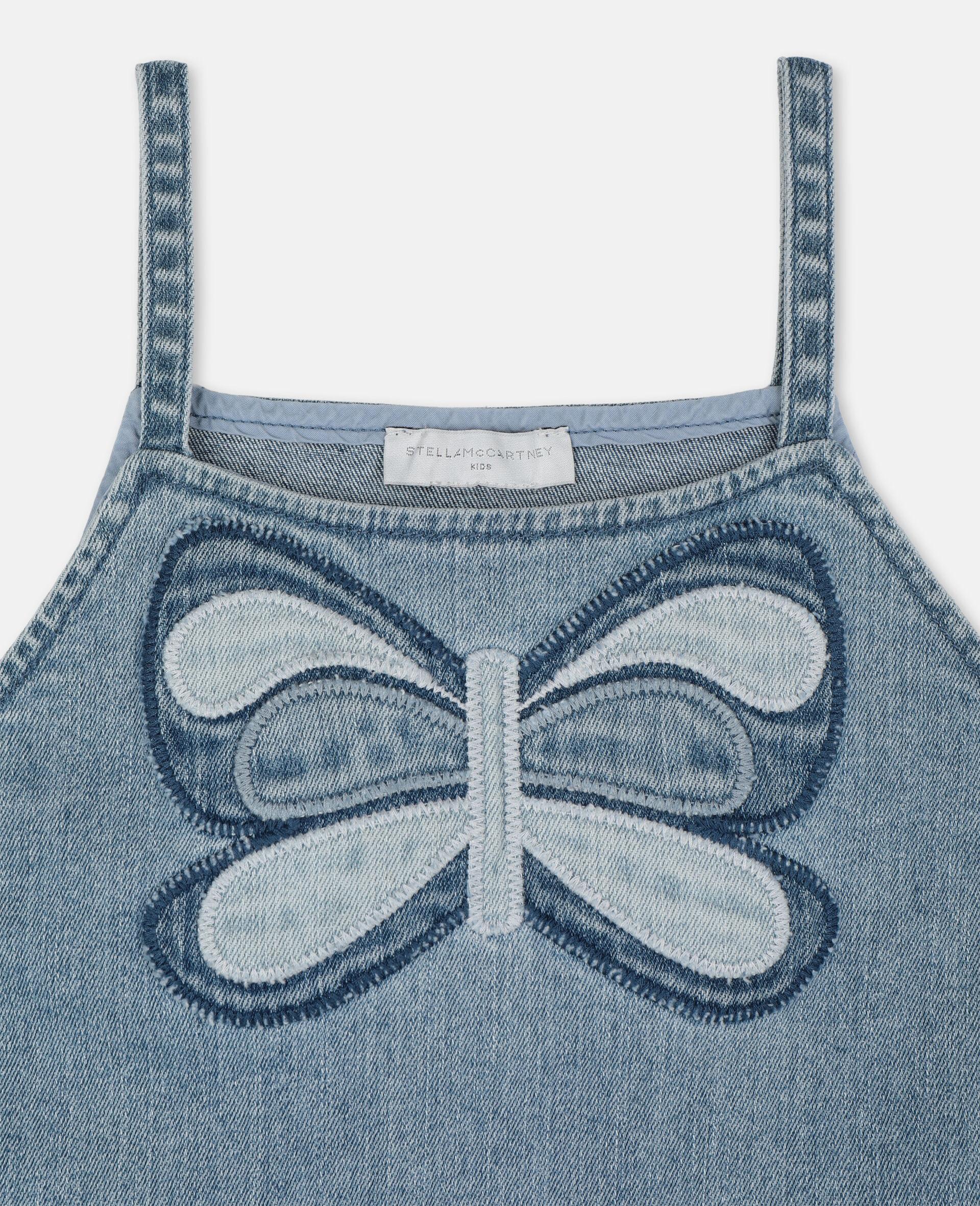 Top en denim avec papillon-Bleu-large image number 1