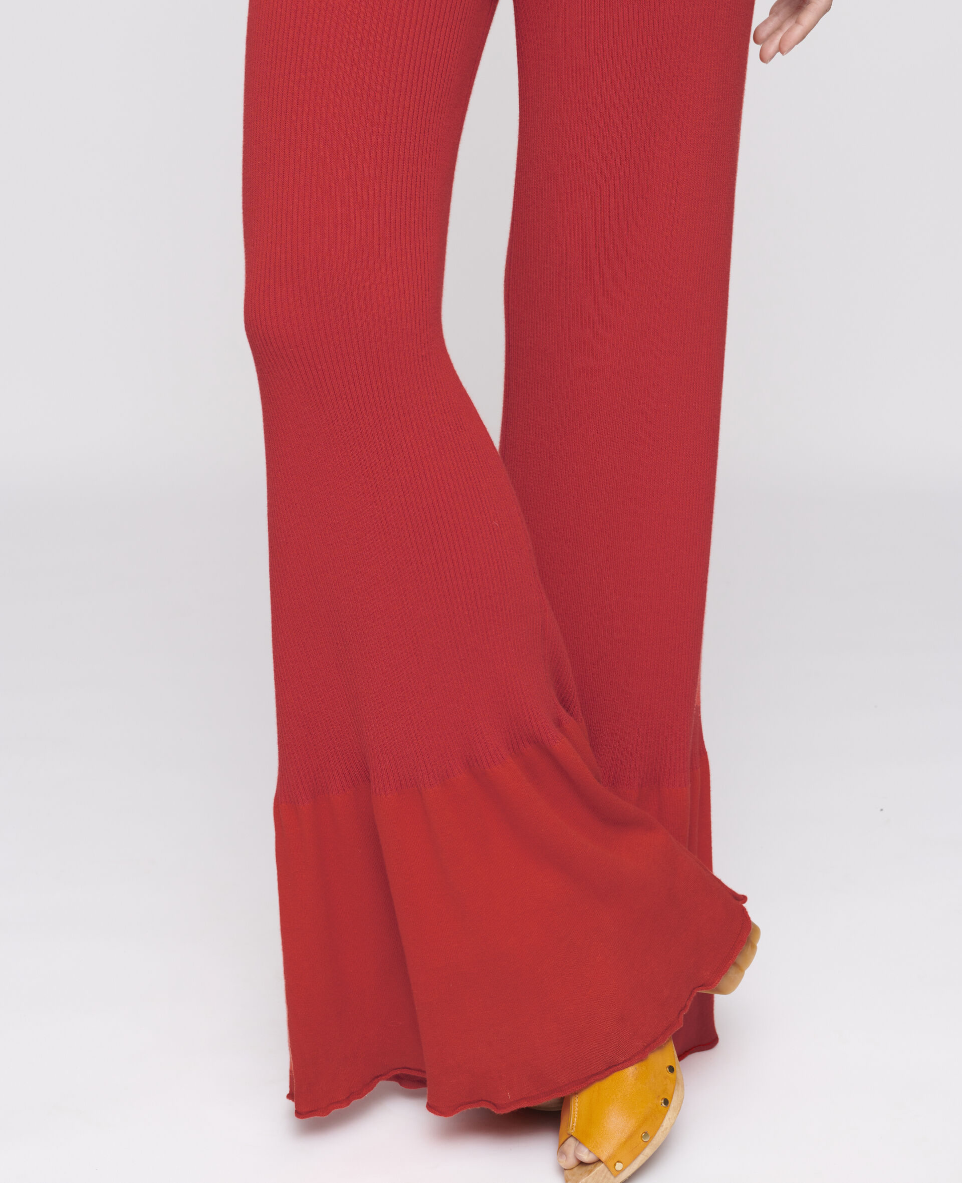 Flared Leg Trousers-Red-large image number 3
