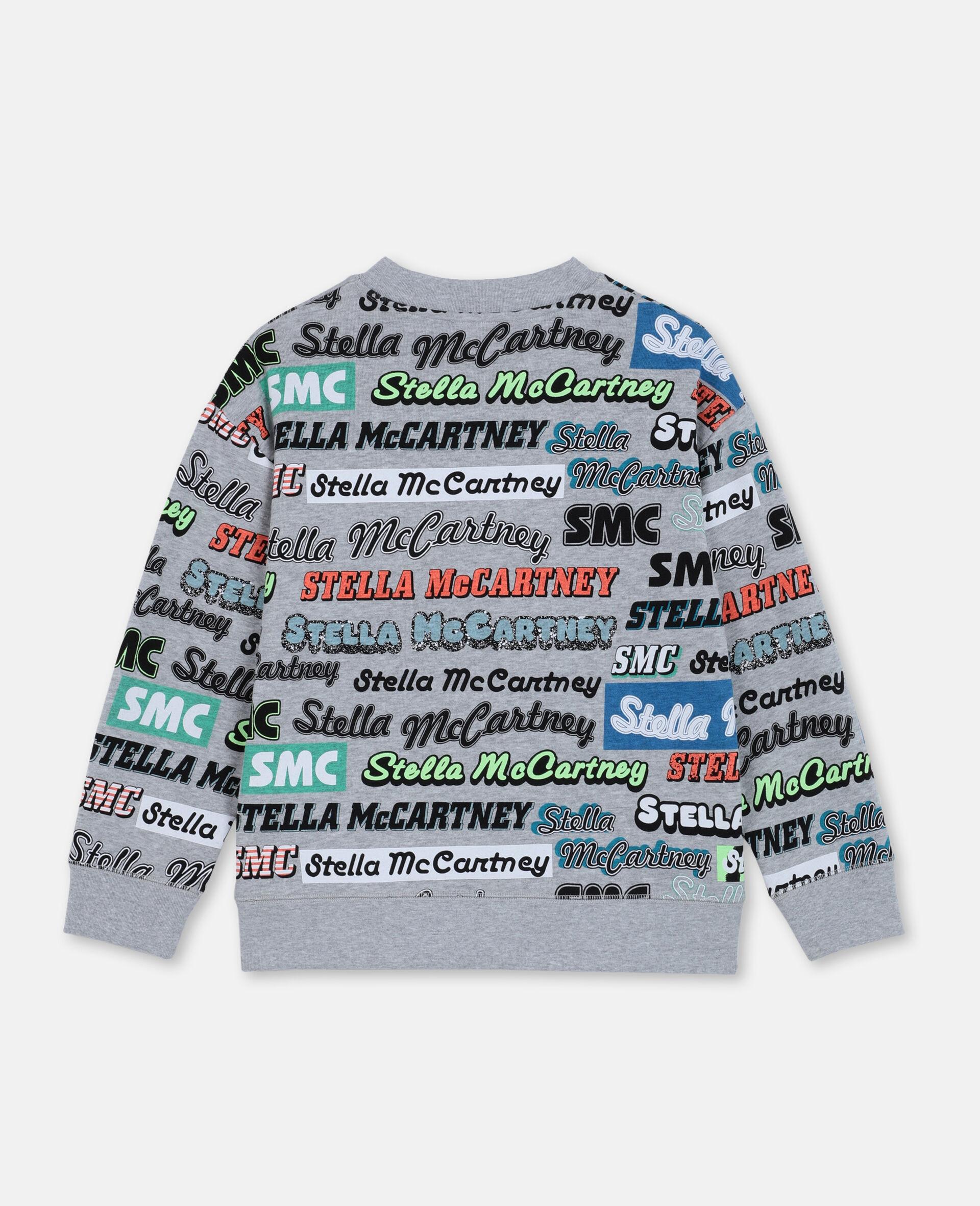 Logo Oversize Cotton Sport Sweatshirt -Grey-large image number 3