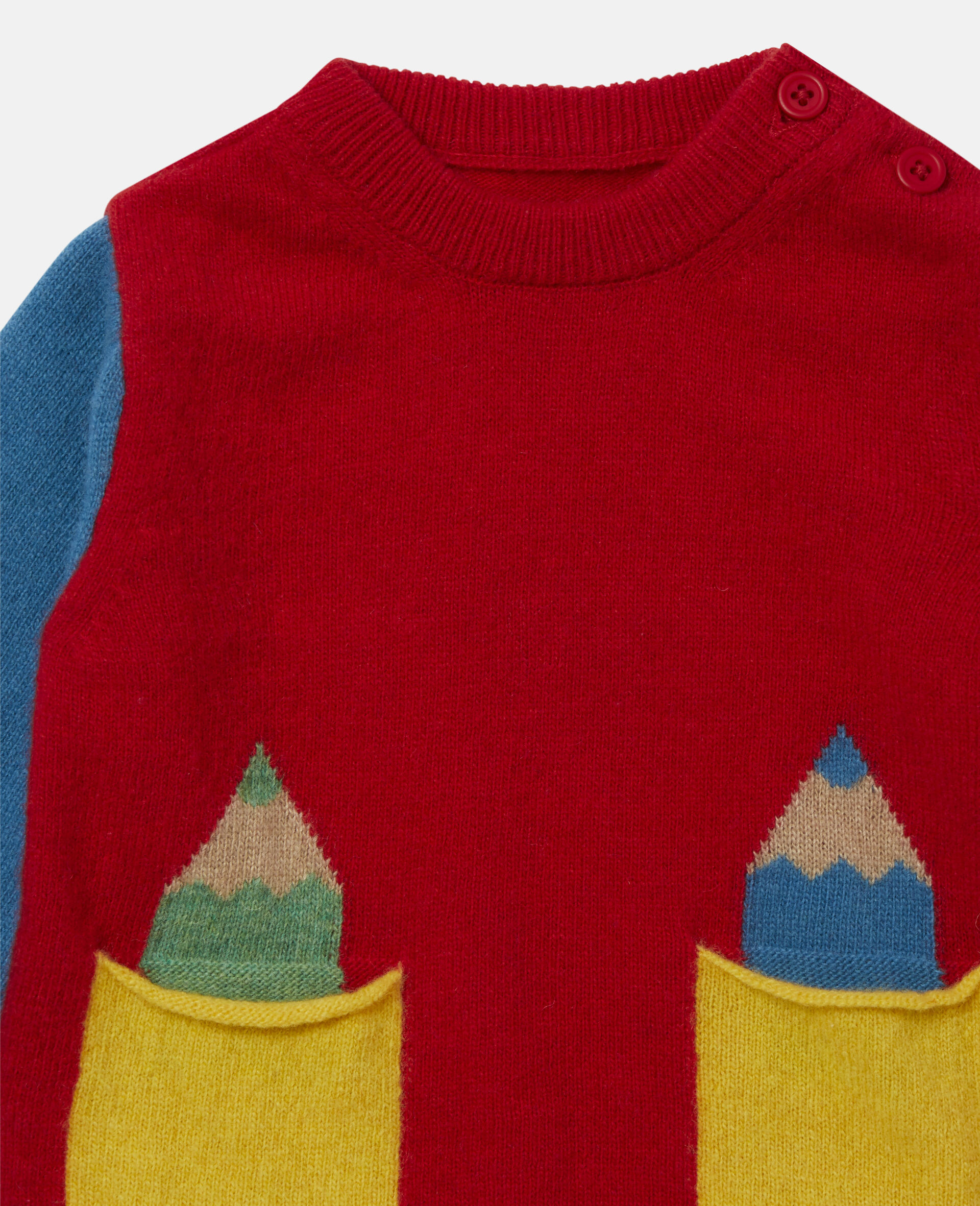 Colorblock Knit Intarsia Sweater-Multicolour-large image number 1