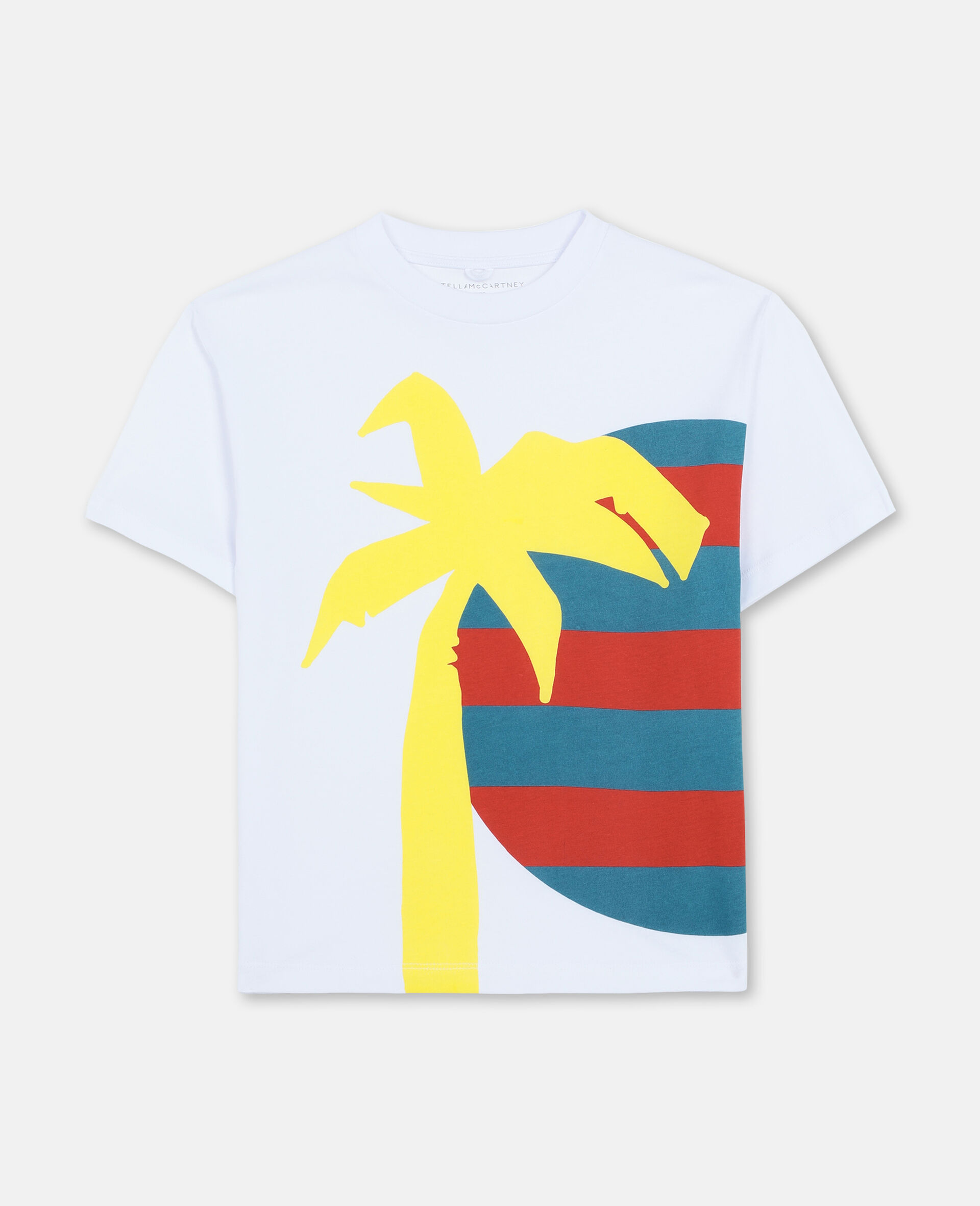 Oversize Sun and Palm Cotton T-shirt -White-large image number 0