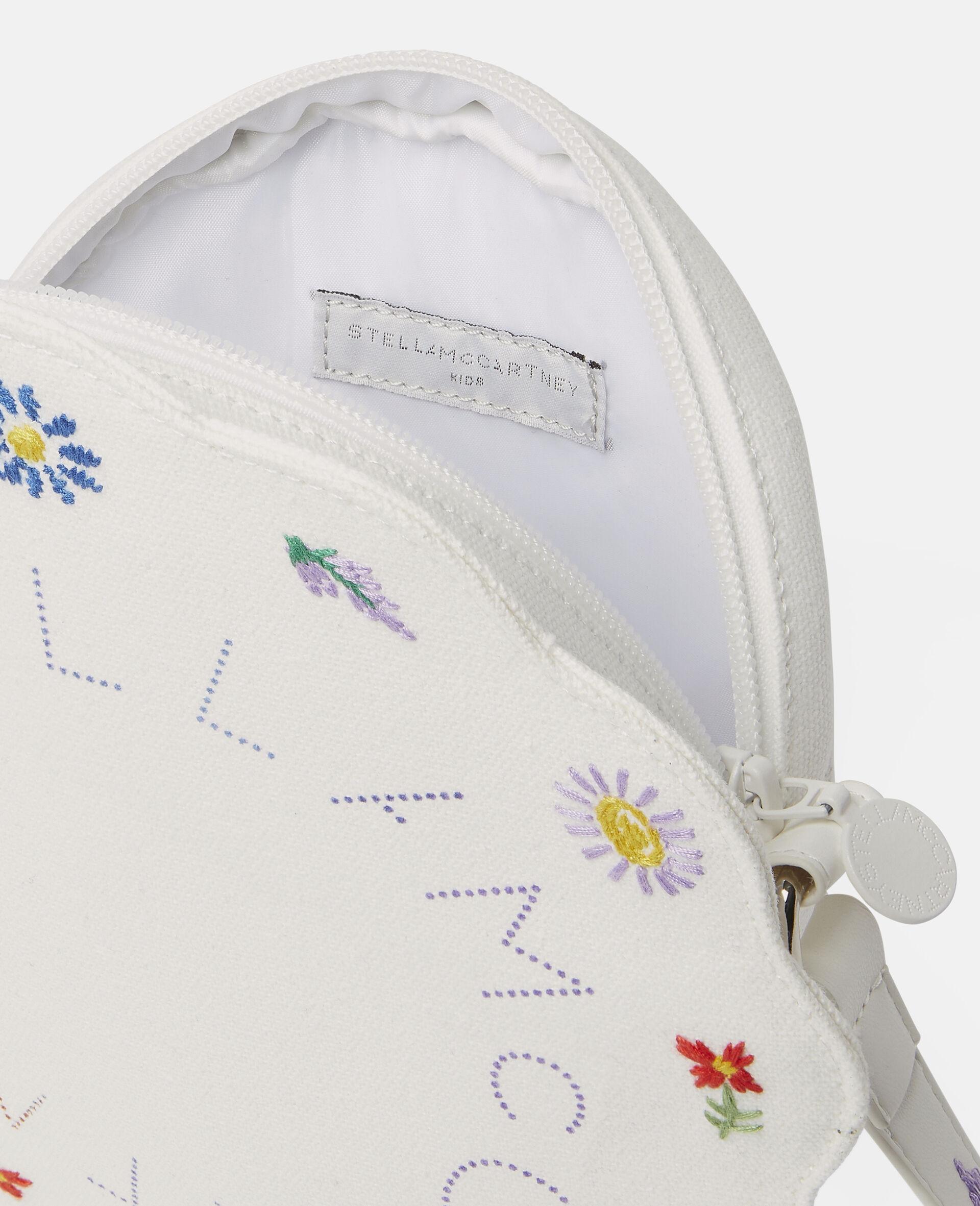 Embroidered Flowers Canvas Shoulder Bag-Beige-large image number 2