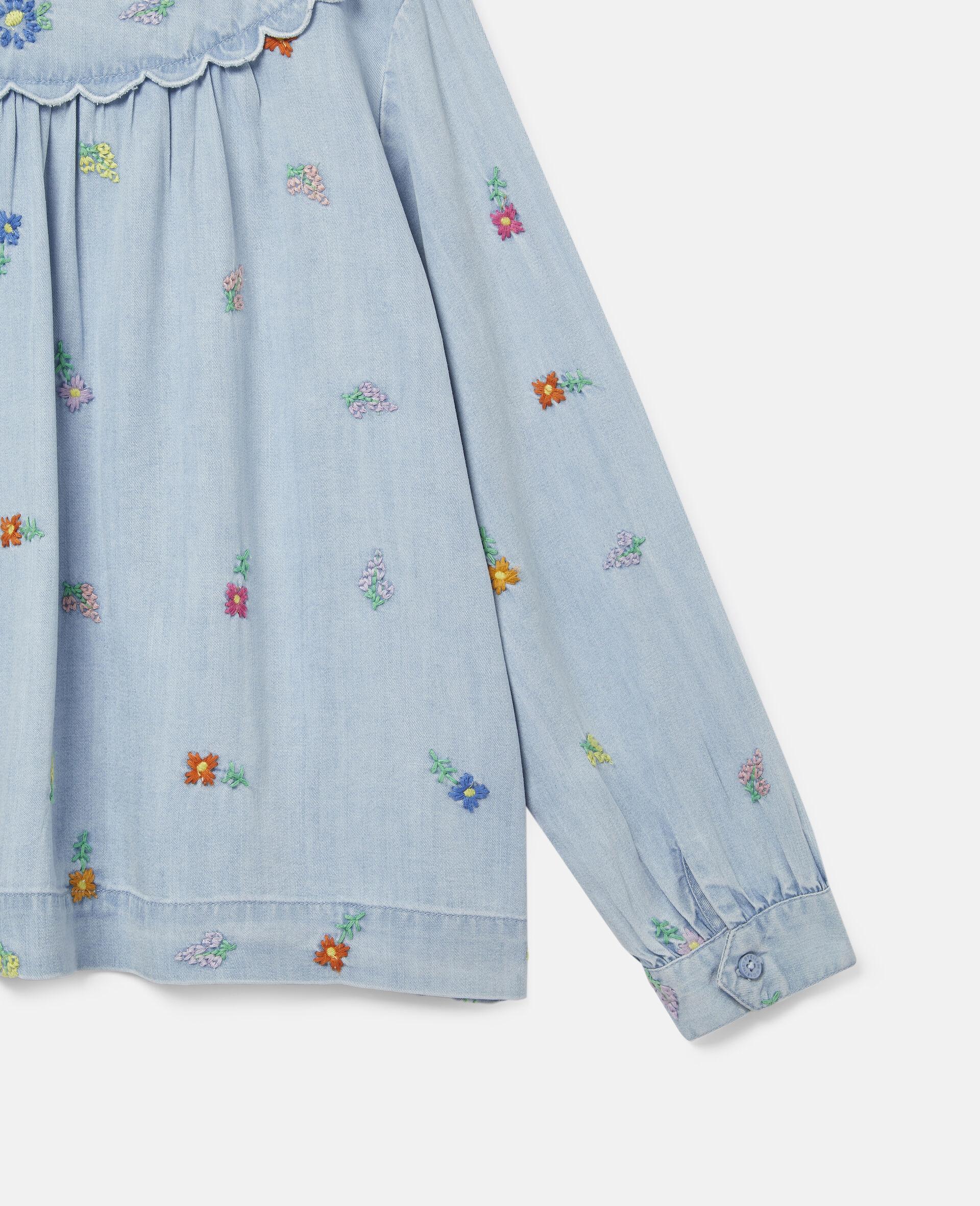 Embroidered Flowers Denim Shirt-Blue-large image number 1