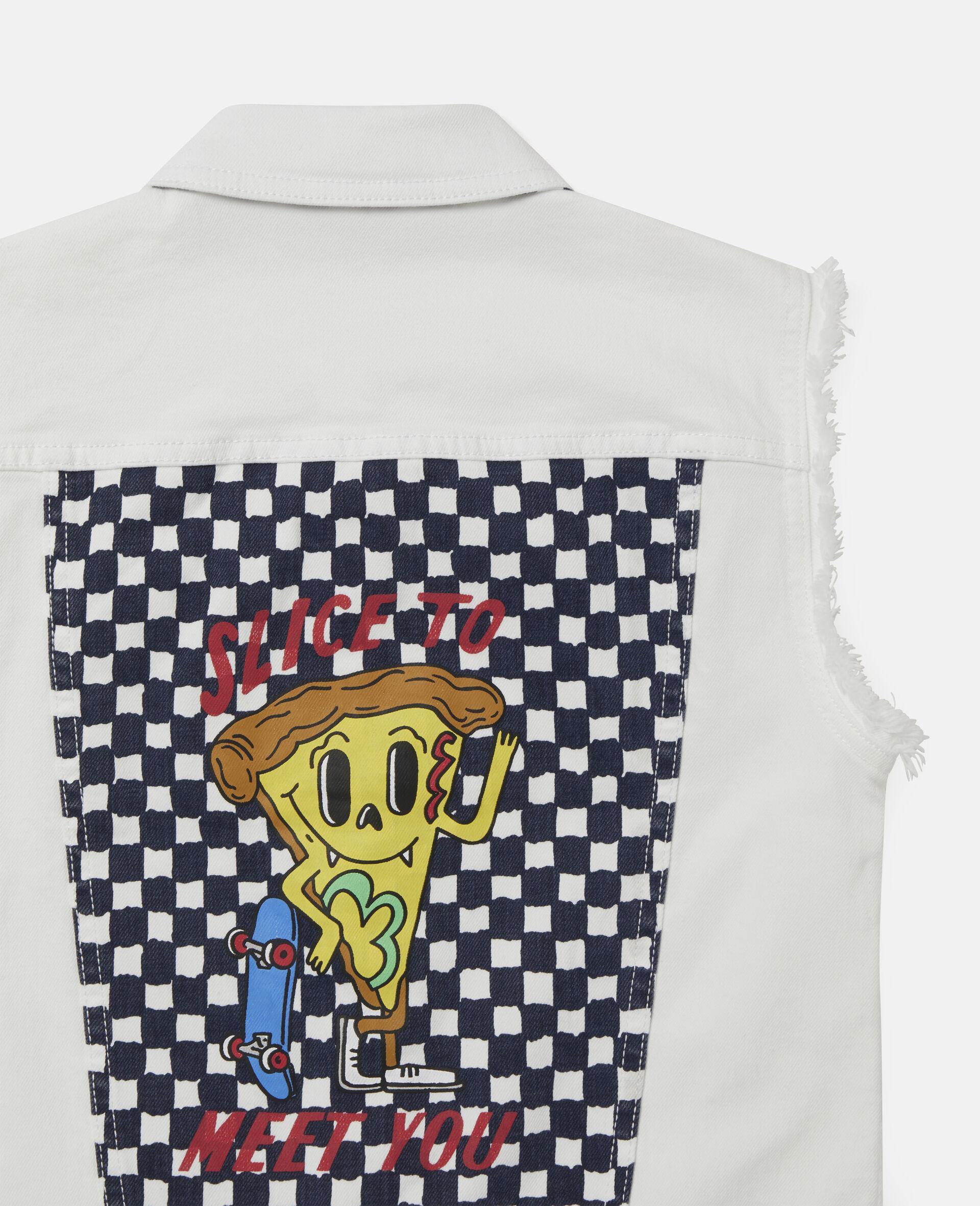 Pizza Badge Denim Gilet-White-large image number 2