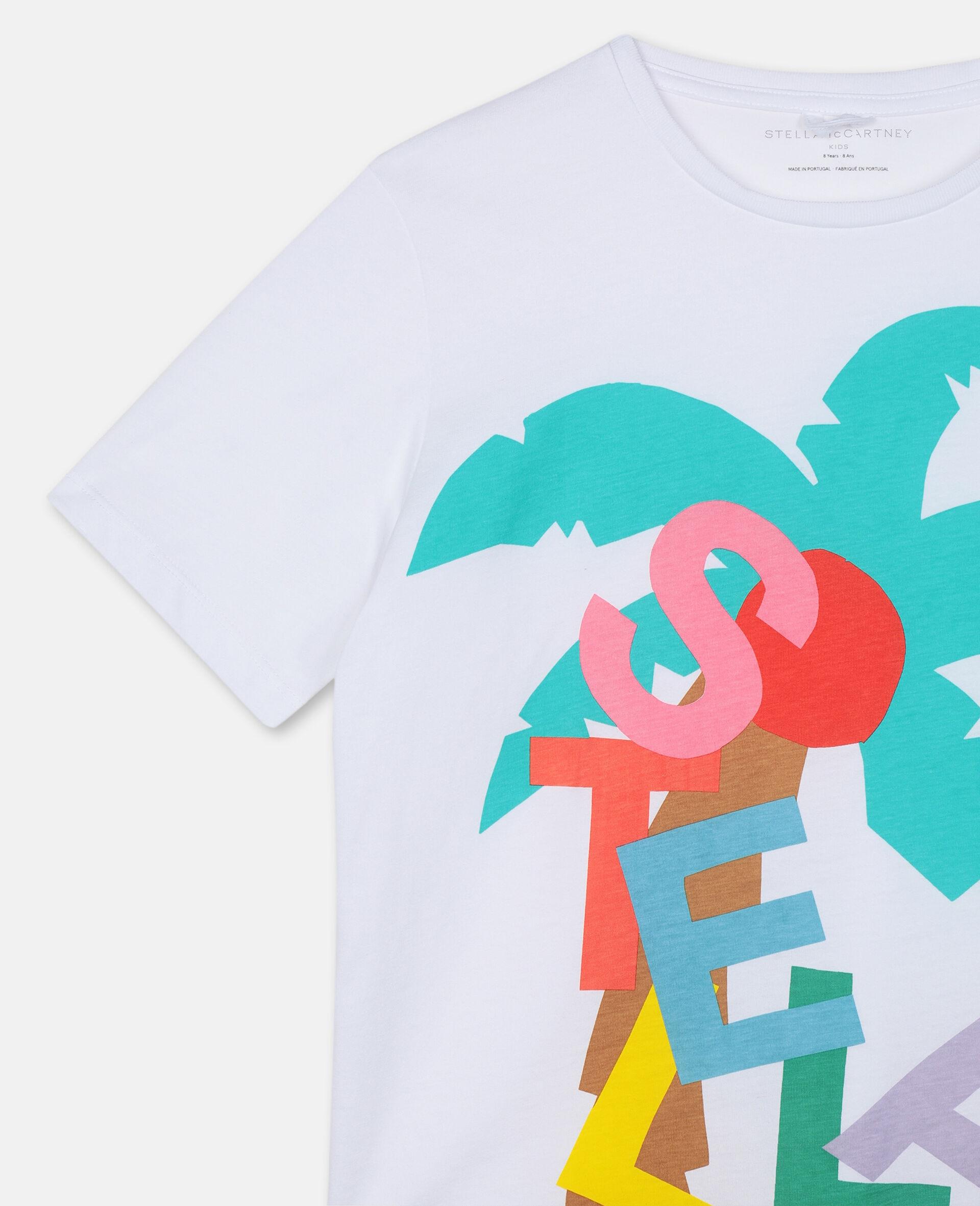 Oversized-T-Shirt mit Postkarten-Print-Weiß-large image number 1