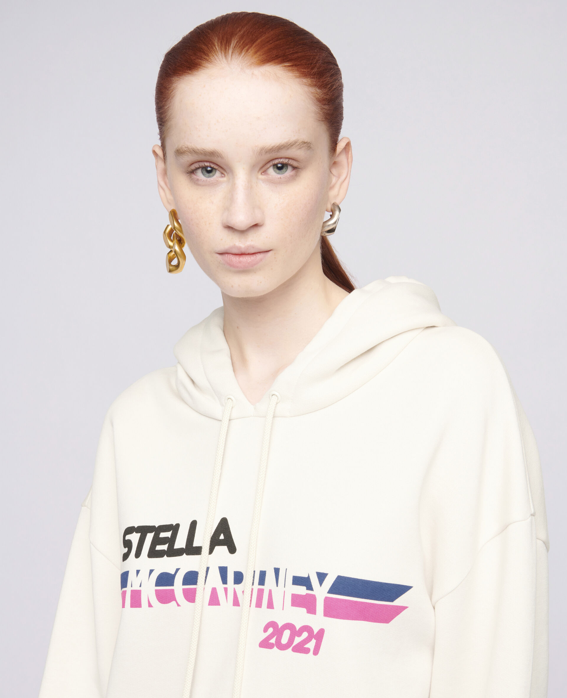 Sweat-shirt à capuche à logo Stella McCartney2021-Blanc-large image number 3