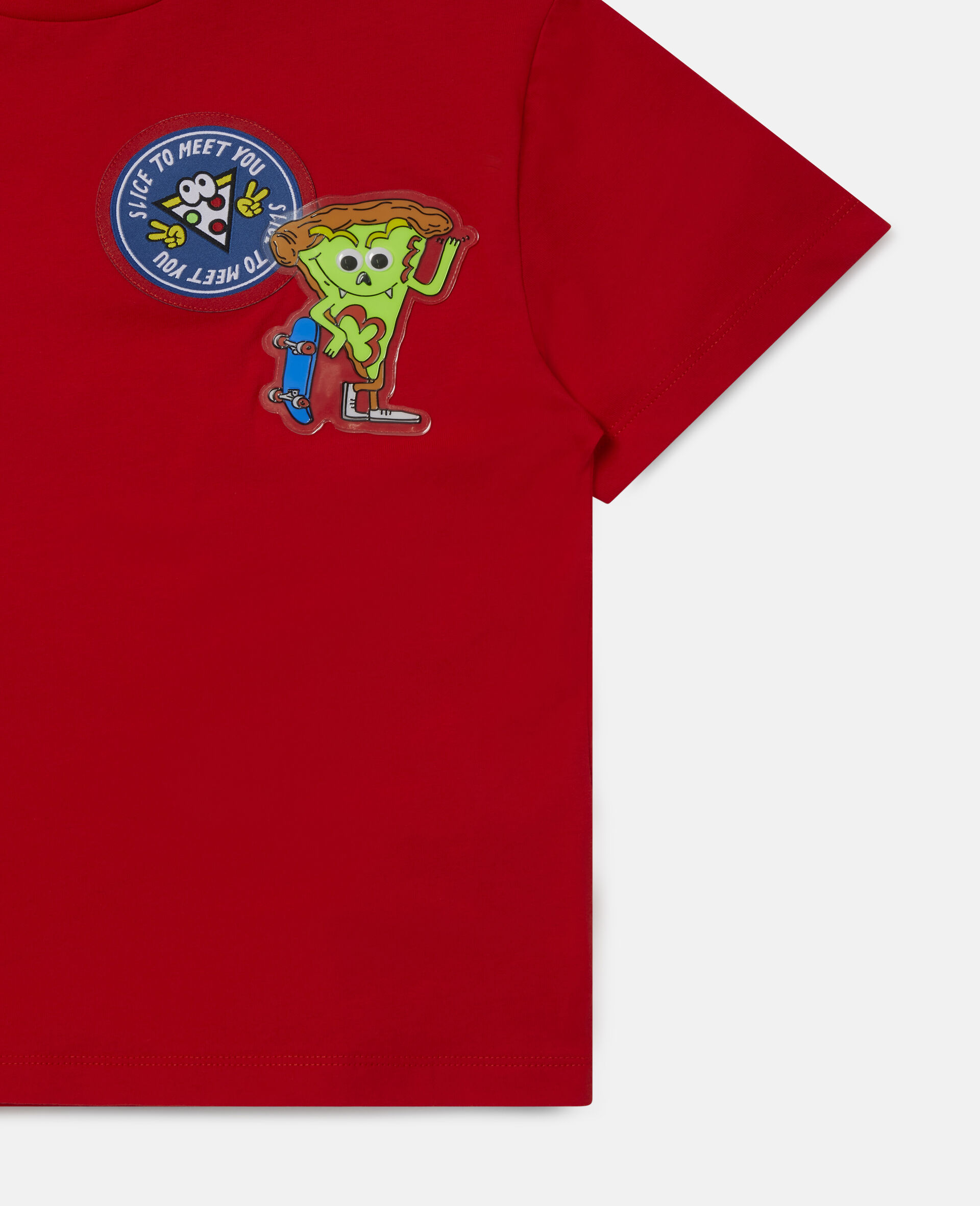 Pizza Badges Oversized Cotton T-Shirt -Red-large image number 1