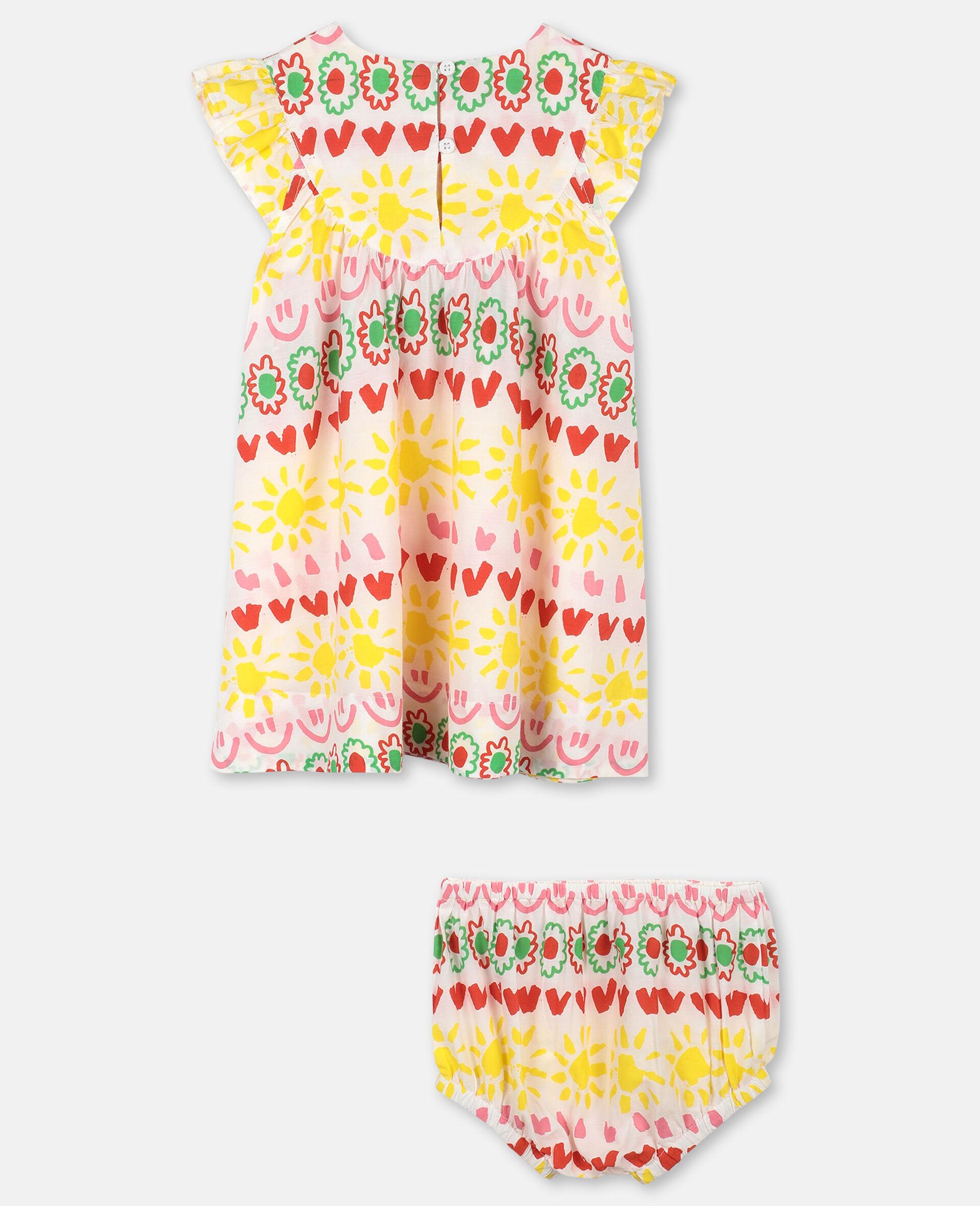 """Kleid aus Baumwolle mit """"Happy Stripes""""-Print-Gelb-large image number 3"""