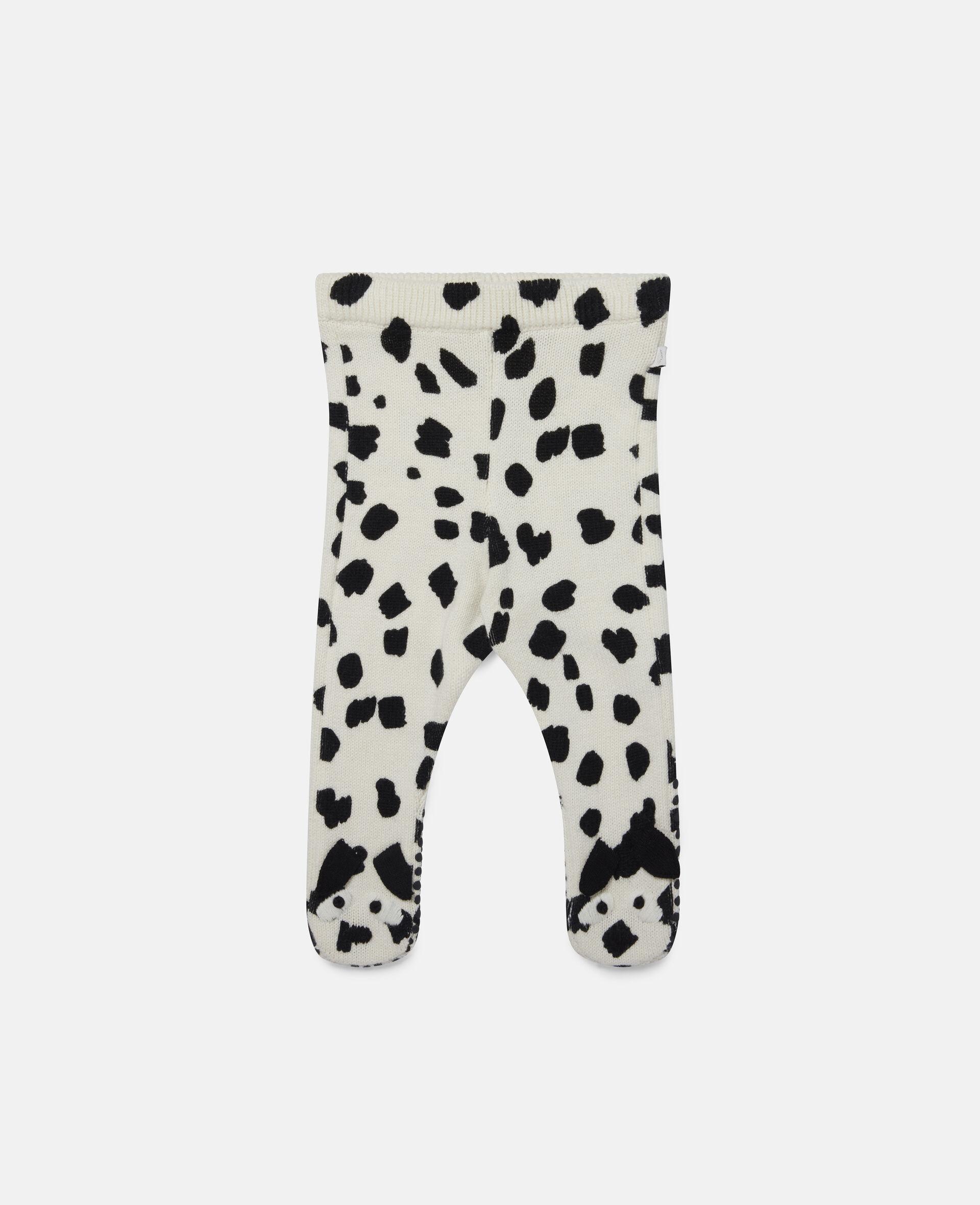 Dalmatian Spots Knit Leggings-White-large image number 0