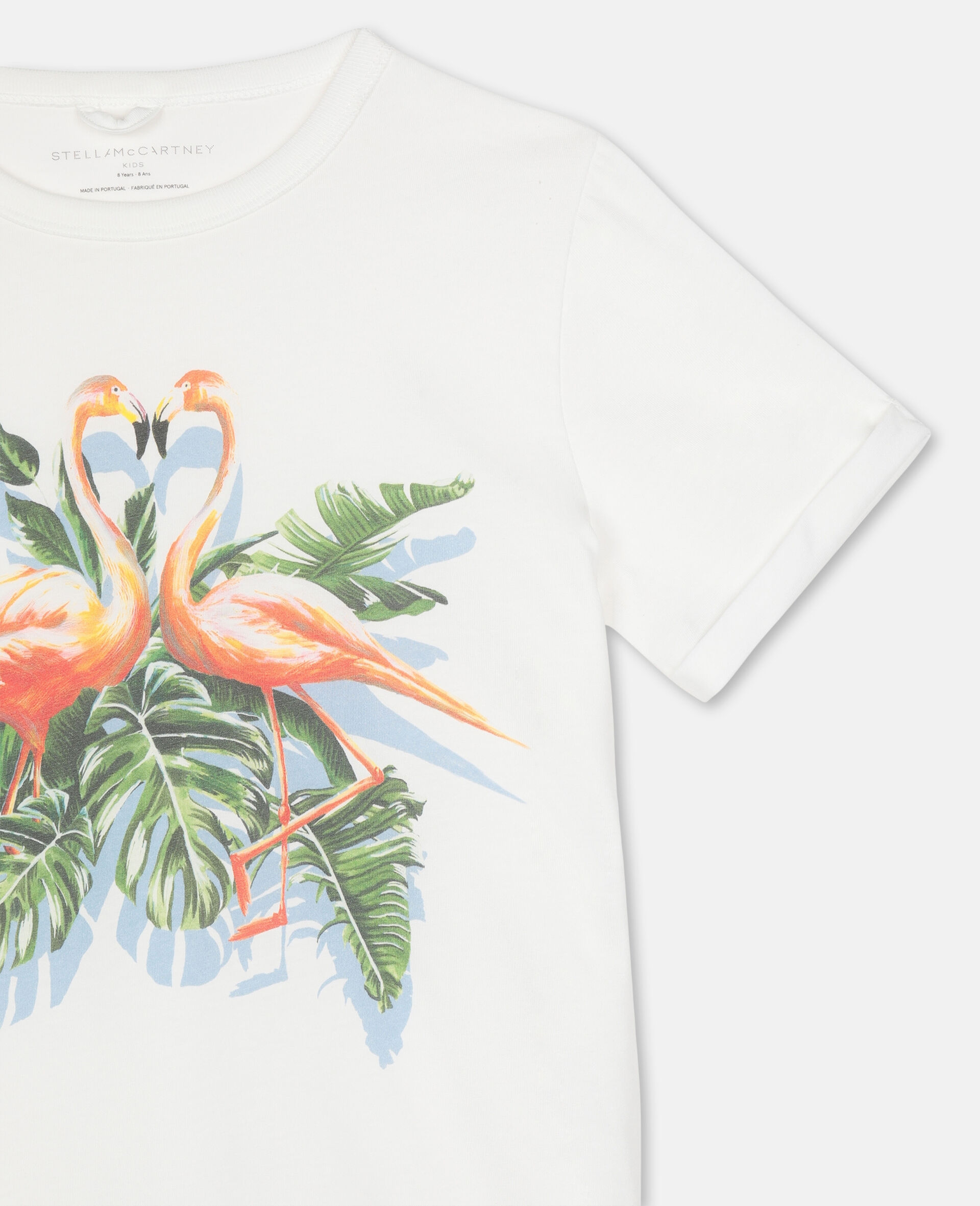 Painty Flamingo Cotton T-shirt -White-large image number 2