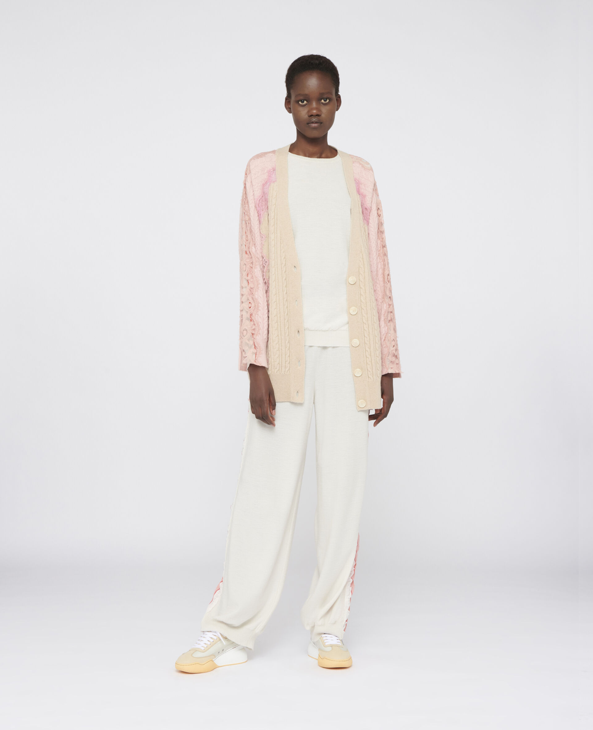 Oversized Wool Cardigan -Beige-large image number 1