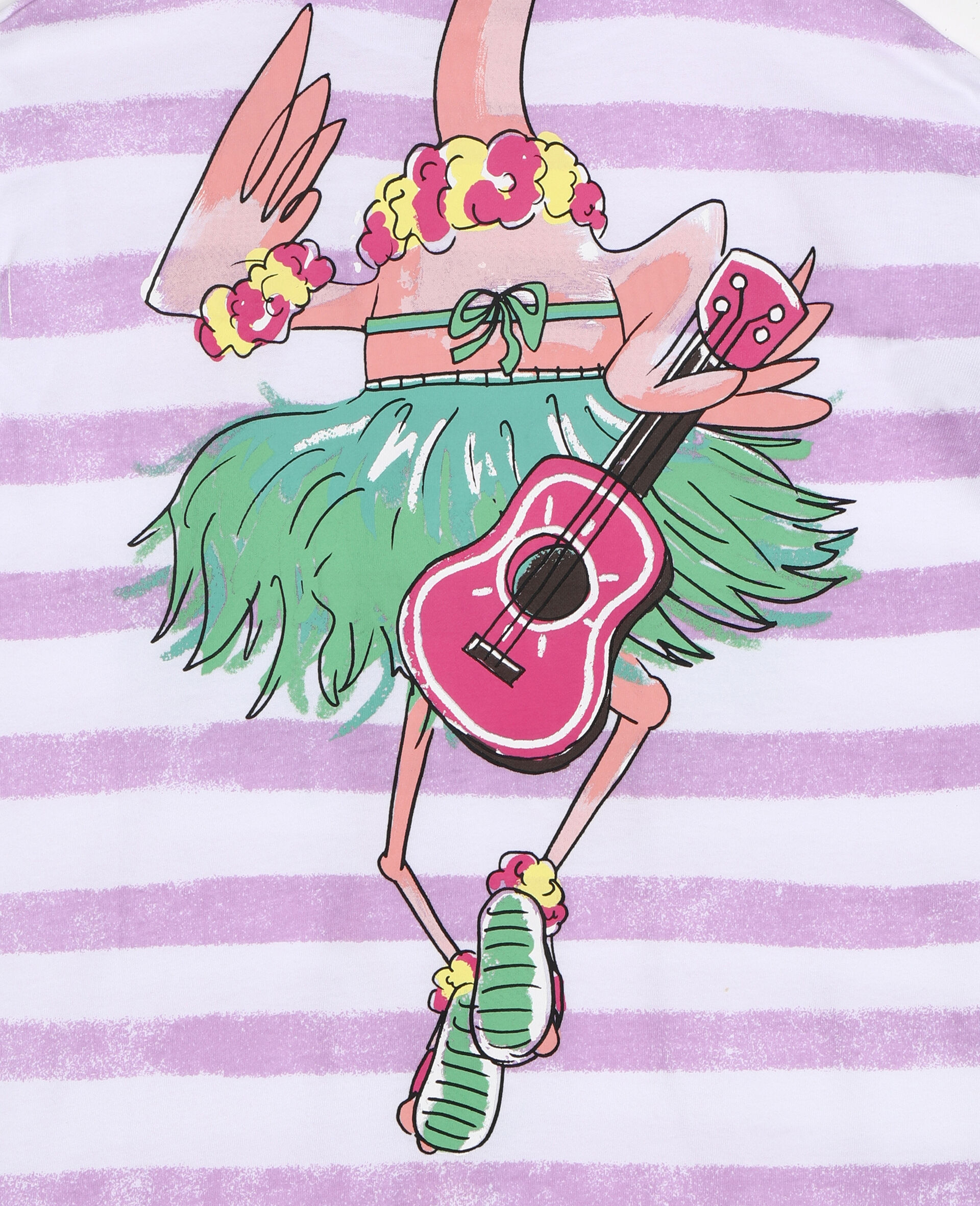 Trompe-L'Oeil-Baumwollkleid mit Flamingos-Weiß-large image number 2