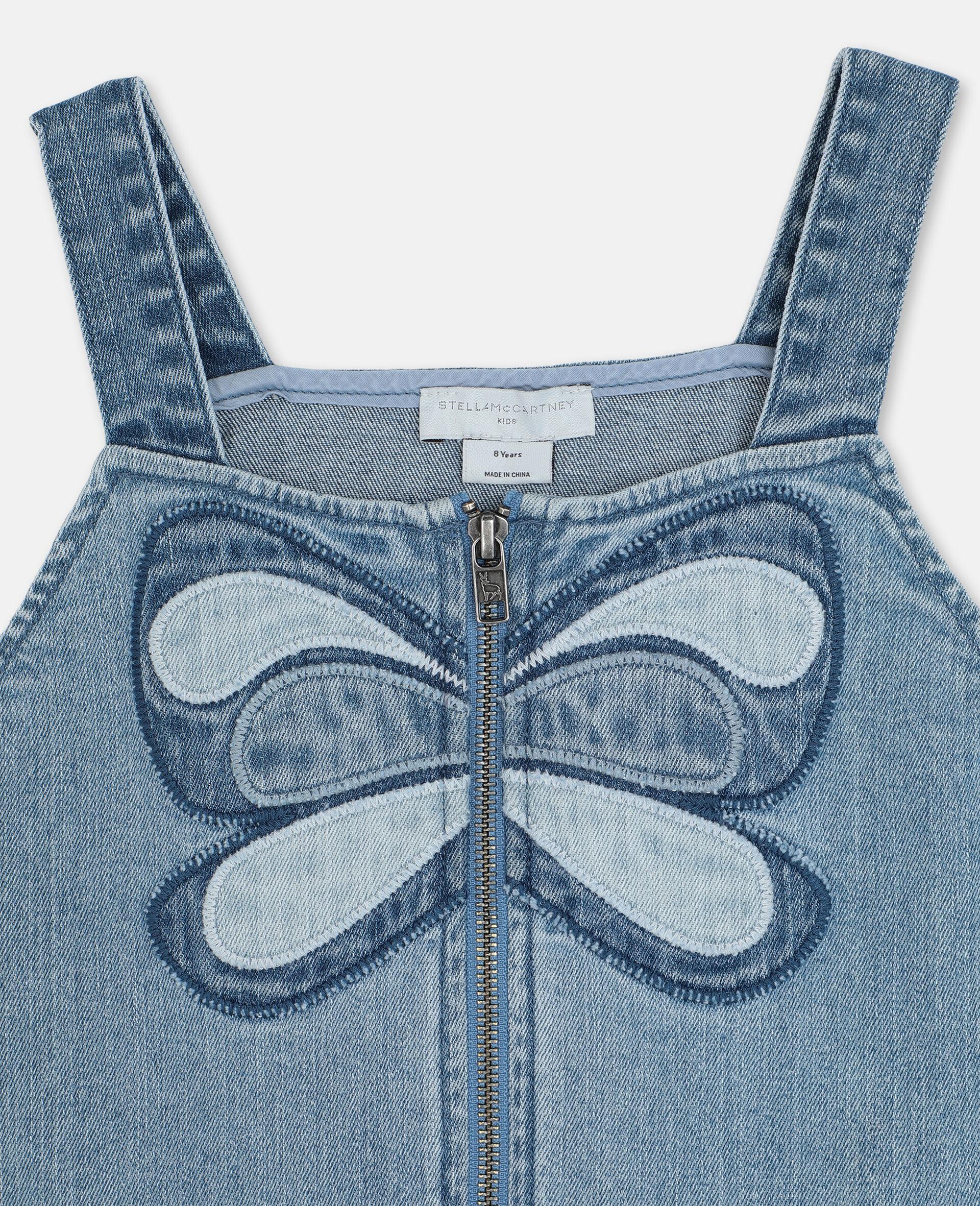 Robe en denim avec papillon-Bleu-large image number 1