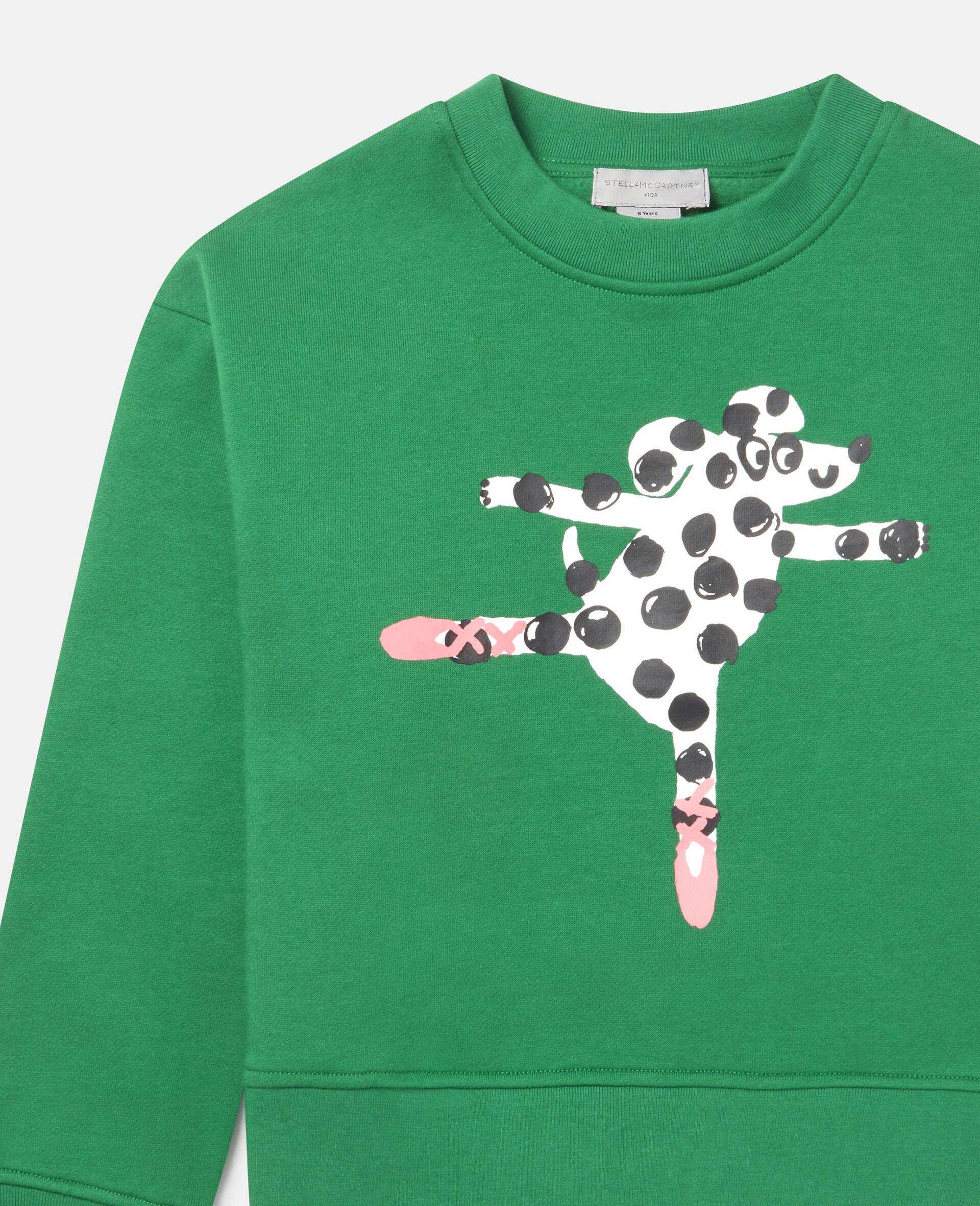 Übergroßes Sweatshirt aus Fleece mit tanzendem Hund -Grün-large image number 1