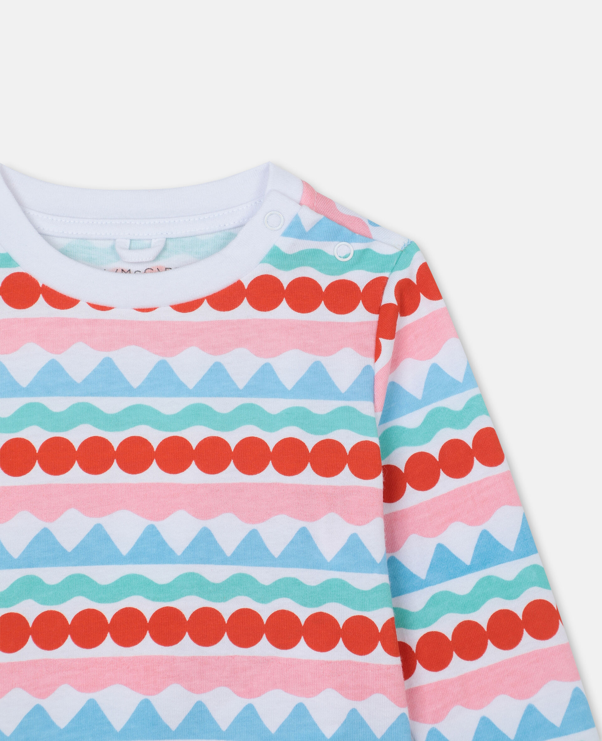 Graphic Stripes Cotton T-shirt-Multicoloured-large image number 1