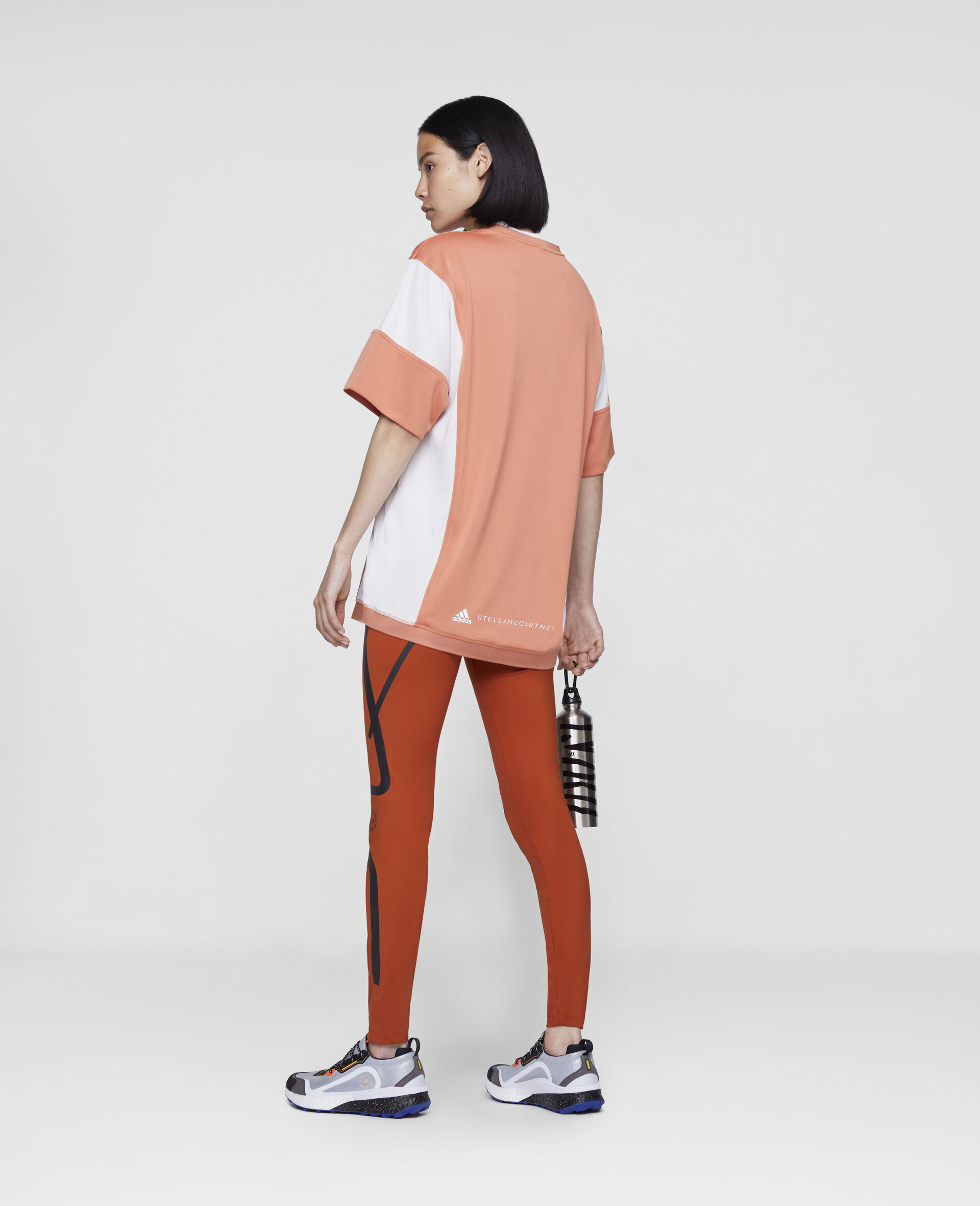 Dusted Clay and White Loose Fit Tee-Orange-large image number 2